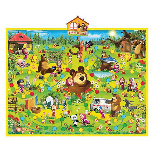 Интерактивный обучающий плакат Азбука Маши, Маша и МедведьМаша и Медведь<br>Интерактивный обучающий плакат Азбука Маши (Маша и медведь) совмещает в себе увлекательную настольную игру и веселое пособие для обучение азбуки и цифр.<br>Обучающий плакат обладает десятью развивающими функциями, среди них настольная игра, обучение цифрам и буквам от А до Я, развитие логического мышления, развитие памяти и внимания, стихотворения, фразы и песенки из мультфильма Маша и медведь.  <br><br>Обучающий плакат можно расположить на горизонтальной поверхности и поиграть в увлекательную настольную игру. Классическая игра-ходилка рассчитана на несколько игроков, с помощью входящих в набор кубика и фишек игроки передвигаются по ходовым полям, всего  на плакате 75 озвученных ходовых полей. Сюжет и фразы игры основаны на эпизодах любимого детского мультсериала Маша и и медведь. Игра озвучена профессиональным актёром, всего 43 стихотворения и 5 песенок из мультфильма.<br><br>Игра способствует развитию логического мышления, памяти и внимания, зрения, слуха и моторики, помогает изучать алфавит и цифры в игровой форме. Имеется автоматическое отключение, регулировка громкости, сенсорные кнопки, поверхность плаката влагозащитная.<br><br>Дополнительная информация:<br><br>- Материал: качественный пластик, картон.<br>- Кубик и фишки в комплекте.<br>- Для работы требуются батарейки 3 х AAA  (входят в комплект).<br>- Размер плаката: 58,5 х 47 см.<br>- Размер упаковки: 63 х 4 х 25 см.<br>- Вес: 400 гр. <br><br>Обучающий интерактивный плакат Азбука Маши (Маша и медведь) можно купить в нашем интернет-магазине.<br><br>Ширина мм: 400<br>Глубина мм: 620<br>Высота мм: 40<br>Вес г: 400<br>Возраст от месяцев: 36<br>Возраст до месяцев: 72<br>Пол: Унисекс<br>Возраст: Детский<br>SKU: 3571137