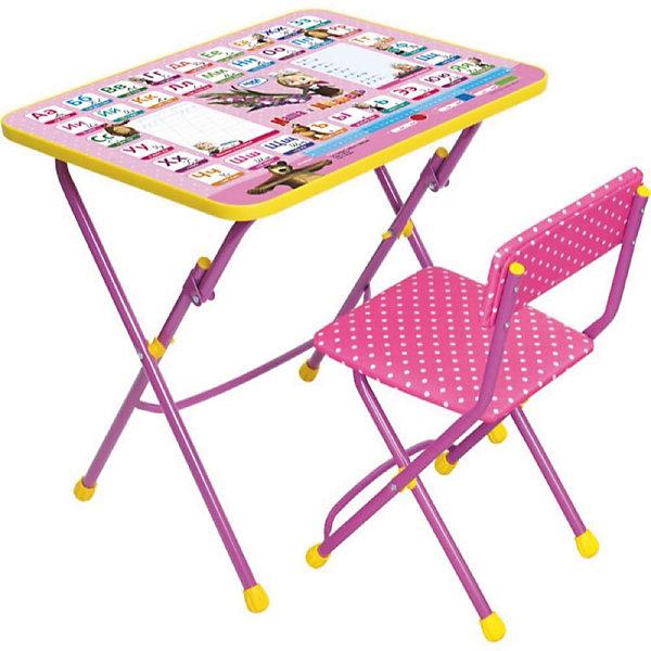 Набор мебели Азбука КУ1/3. Маша и медведь, Ника, розовыйДетские столы и стулья<br>Симпатичный комфортный набор детской мебели Азбука 3 Маша и медведь идеально подойдет для занятий, игр и творчества детей 3 -7 лет. В набор входят стол и стул с металлическим каркасом и мягким сиденьем, оформленные по мотивам любимого мультсериала Маша и медведь. <br><br>Столешница облицована пленкой, на которой размещена красочная азбука с прописями и изображениями персонажей мультфильма Маша и медведь Мебель удобна и безопасна для ребенка, углы стола и стула мягко закруглены. Стул и стол легко складываются и не занимают много места.<br><br>Дополнительная информация:<br><br>- Цвет: розовый.<br>- Материал: пластик, металл.<br>- Размер стула: высота до сиденья 32 см, высота со спинкой 56 см, сиденье 30 х 27 см.<br>- Размер стола: 59 х 45 х 57 см.<br>- Вес: 8 кг<br><br>Набор детской мебели Азбука 3 в розовом цвете, Маша и Медведь можно купить в нашем интернет-магазине.<br>Ширина мм: 740; Глубина мм: 620; Высота мм: 150; Вес г: 9000; Возраст от месяцев: 24; Возраст до месяцев: 60; Пол: Женский; Возраст: Детский; SKU: 3571145;