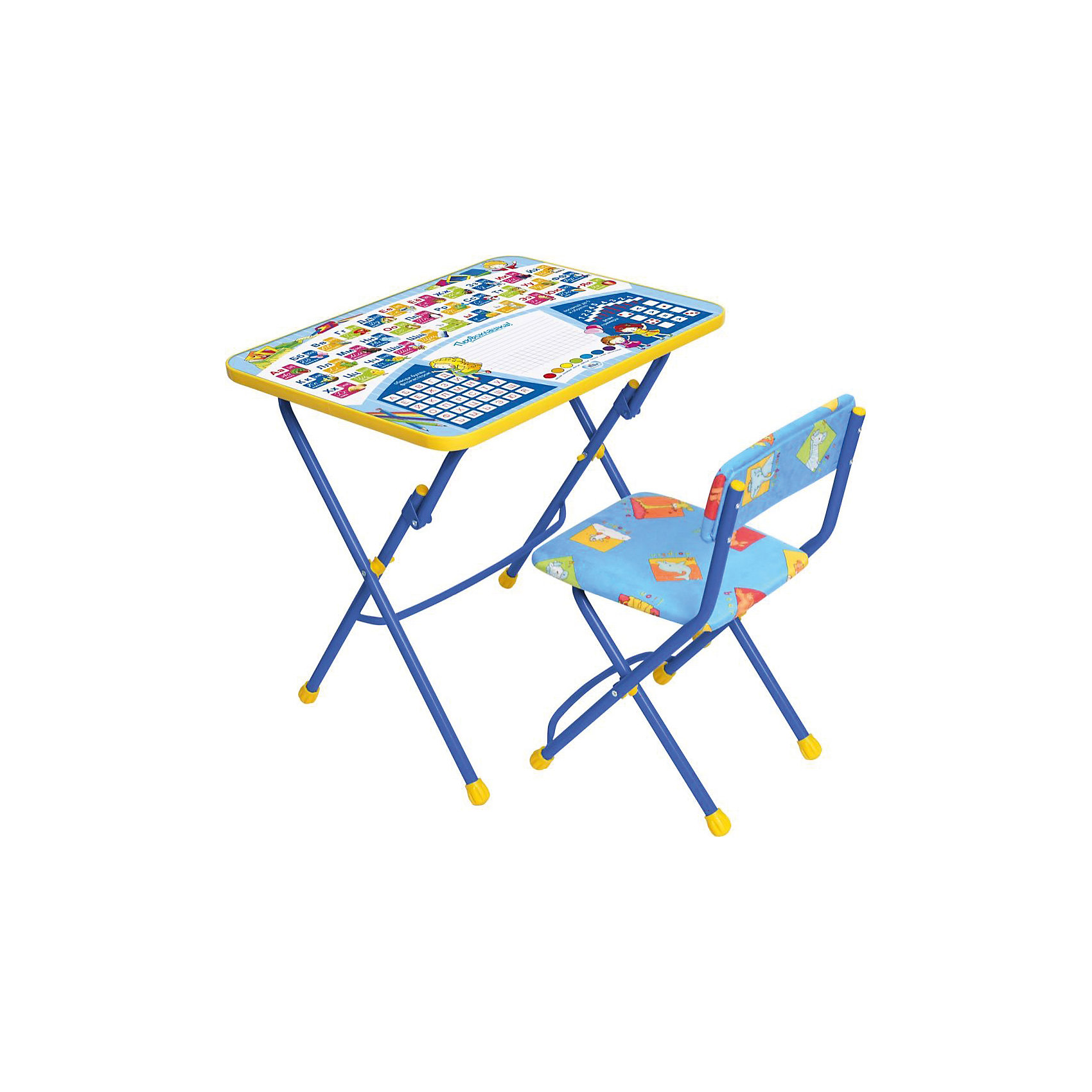 Набор мебели Первоклашка, Ника, синийСтолы и стулья<br>Симпатичный комфортный набор детской мебели Первоклашка Ника идеально подойдет для занятий, игр и творчества детей 2 -7 лет. В набор входят стол и стул с металлическим каркасом и мягким сиденьем.<br><br>Столешница оформлена красочными тематическими рисунками, которые познакомят ребенка с азбукой, цифрами, цветами, знаками сравнения (больше, меньше, равно), обводя буквы фломастером прямо на столе он освоит написание алфавита. Столешницу можно располагать горизонтально или под наклоном, на край крепится пенал для хранения письменных принадлежностей. <br><br>Мебель удобна и безопасна для ребенка, углы стола и стула мягко закруглены, ножки мебели закрыты колпачками, защищающими поверхность пола от повреждений. Стул и стол легко складываются и не занимают много места.<br><br>Дополнительная информация:<br><br>- Материал: пластик, металл.<br>- Размер стула: высота до сиденья 32 см, высота со спинкой 56 см, сиденье 30 х 27 см.<br>- Размер стола: 60 х 45 х 57 см.<br>- Вес: 8 кг.<br><br>Набор детской мебели Первоклашка Ника можно купить в нашем интернет-магазине.<br><br>Ширина мм: 740<br>Глубина мм: 620<br>Высота мм: 150<br>Вес г: 9000<br>Возраст от месяцев: 24<br>Возраст до месяцев: 84<br>Пол: Унисекс<br>Возраст: Детский<br>SKU: 3571156