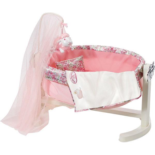 Колыбель с ночником, Baby AnnabellБренды кукол<br>Великолепная Колыбель с ночником, Baby Annabell (Бэйби Аннабель) выглядит совсем как настоящая, и если уложить куклу в такую кроватку и немного покачать, то она быстро уснет. От яркого света пупса укроет балдахин, к основанию которого подвешен ночник в виде овечки, проигрывающий колыбельную мелодию и проецирующий световые рисунки в виде летящих по ночному небу овечек. <br><br>Характеристики:<br>-Колыбель подходит для кукол длиной от 36 до 46 см<br>-Колыбель станет прекрасным дополнением к кукле Аннабель и коллекции других аксессуаров  «Бэйби Аннабель»<br>-Развивает: навыки ответственности, хозяйственности, фантазию, мелкую моторику, речь<br><br>Комплектация: колыбель, ночник, текстиль<br><br>Дополнительная информация:<br>-Материалы: текстиль, пластик<br>-Размеры в упаковке: 32x20x51 см <br>-Вес в упаковке: 3 кг<br>-Внимание! Кукла в комплект НЕ входит<br>-Питание: 3 батарейки ААА (НЕ входят в комплект) <br><br>Красивая розовая колыбель станет прекрасным дополнением для игры в дочки-матери и прекрасным подарком Вашей девочке на Новый Год!<br><br>Колыбель с ночником, Baby Annabell (Бэйби Аннабель) можно купить в нашем магазине.<br><br>Ширина мм: 524<br>Глубина мм: 332<br>Высота мм: 137<br>Вес г: 1414<br>Возраст от месяцев: 36<br>Возраст до месяцев: 60<br>Пол: Женский<br>Возраст: Детский<br>SKU: 3572770