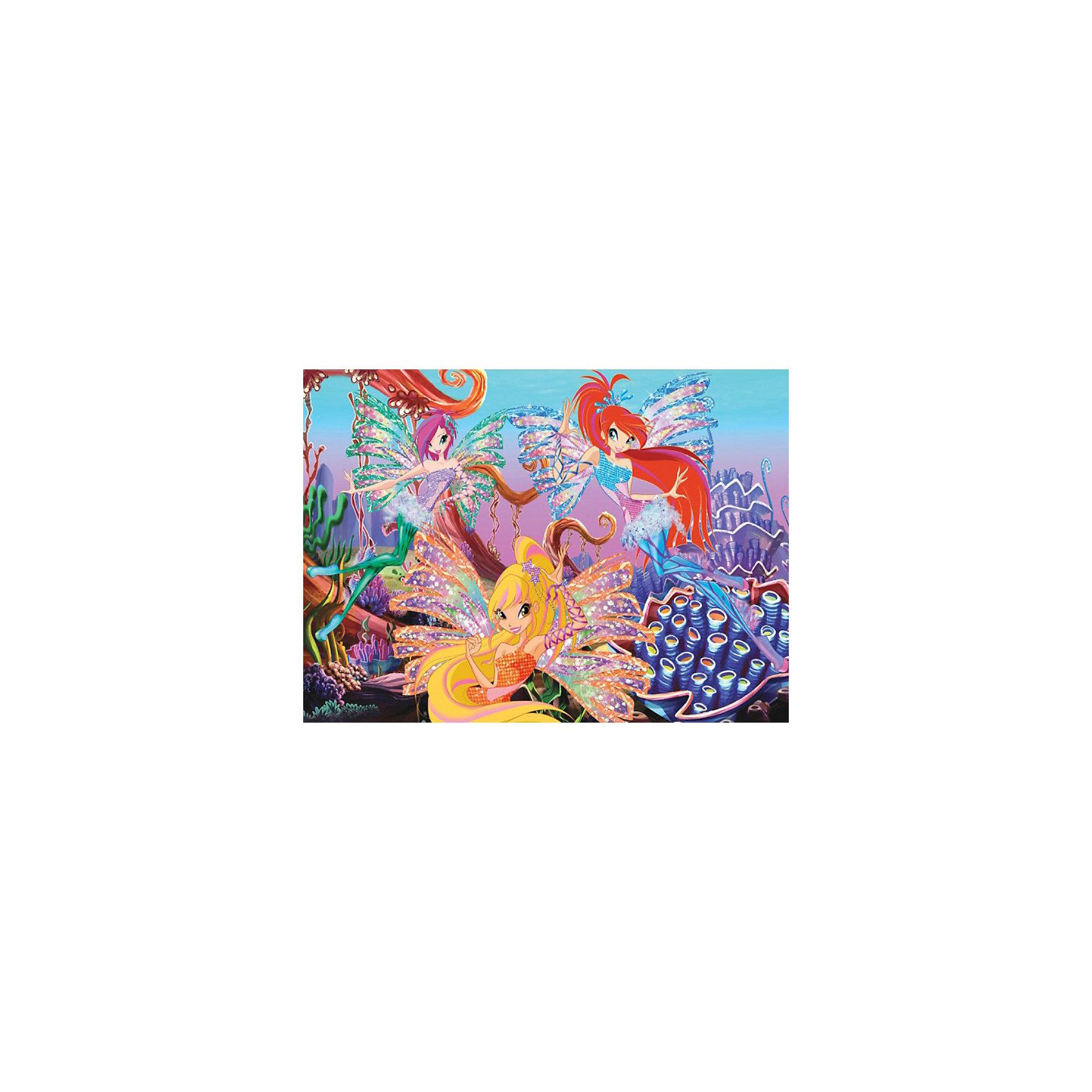 Пазл Морской риф, Winx Club, 260 деталей, CastorlandПорадуйте себя и своего ребенка великолепным Пазлом Морской риф, Winx Club (Винкс Клаб), 260 деталей, Castorland (Касторлэнд) с изображением героинь популярного мультфильма Школа волшебниц!<br><br>Школа волшебниц повествует о приключениях маленьких фей, обучающихся магии. Каждая из маленьких волшебниц обладает собственным неповторимым характером, отличительными чертами, моделями поведения и, конечно же, уникальным стилем. На картинке пазла феи изображены на фоне морского дна. Яркие и качественные детали пазла привлекут внимание ребенка и позволят ему с удовольствием собирать картинку. <br><br>Особенности:<br>-Способствуют развитию образного и логического мышления, наблюдательности, мелкой моторики<br>-Высокое качество: точная нарезка, обеспечивающая стыковку деталей, качественная проработка деталей картинки, яркая цветовая гамма<br>-Изготовлено из экологического сырья<br>-Матовая поверхность исключает неприятные отблески<br><br>Комплектация: 260 деталей<br><br>Дополнительная информация:<br><br>-Размеры собранного пазла: 32х23 см<br>-Материал: картон<br><br>Пазл высокого качества с ярким и интересным изображением из любимого мультфильма приятно получать в подарок и интересно складывать!<br><br>Пазл Морской риф, Winx Club (Винкс Клаб), 260 деталей, Castorland (Касторлэнд) можно купить в нашем магазине.<br><br>Ширина мм: 245<br>Глубина мм: 175<br>Высота мм: 37<br>Вес г: 150<br>Возраст от месяцев: 36<br>Возраст до месяцев: 1188<br>Пол: Женский<br>Возраст: Детский<br>Количество деталей: 260<br>SKU: 3574396