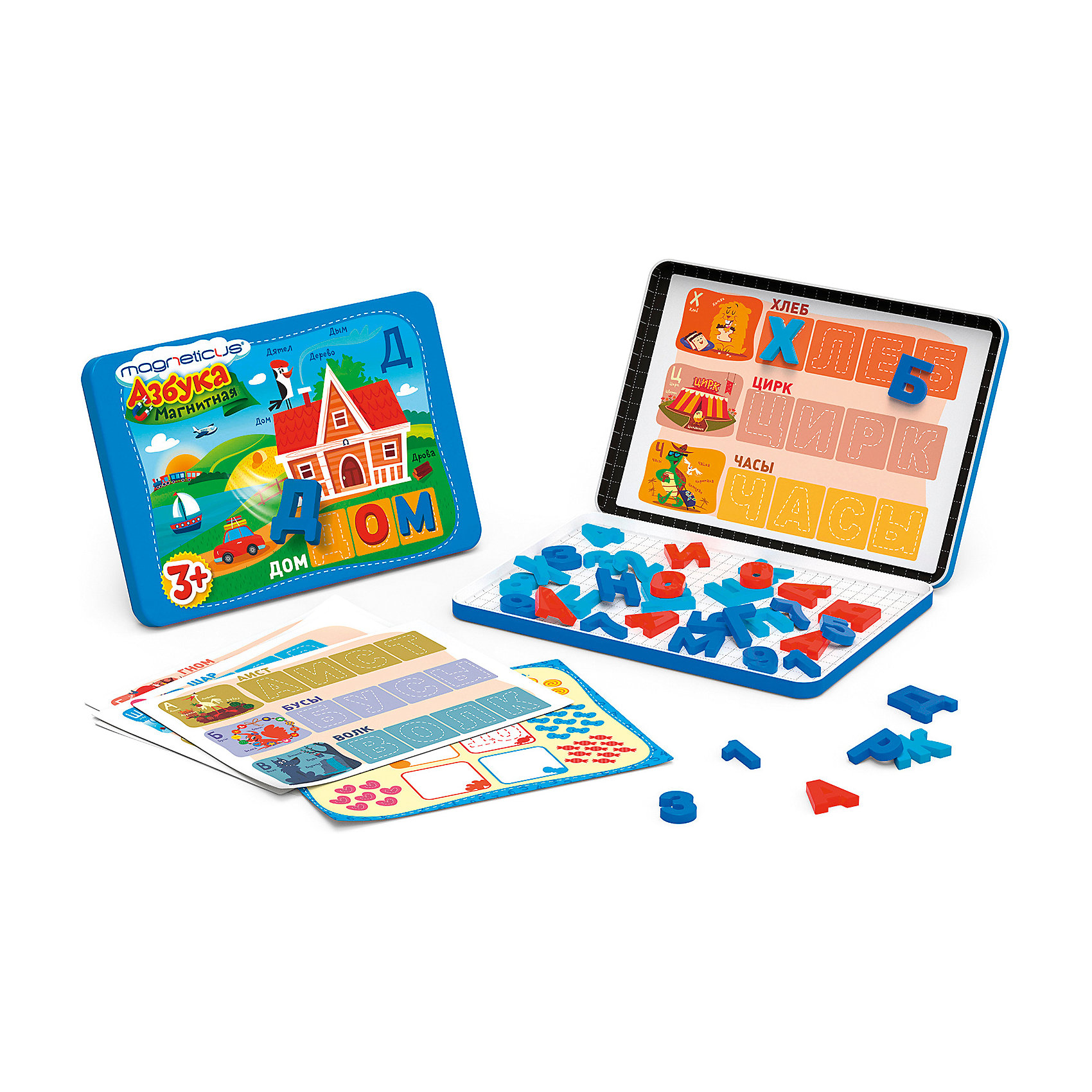 Мозаика магнитная Путешественник: Азбука,  MagneticusМозаика<br>Мозаика магнитная «Путешественник: Азбука», Magneticus (Магнетикус) – мозаика, которую можно брать с собой в путешествия, ведь ей не страшна никакая тряска.<br><br>Мозаика «Путешественник: Азбука» поможет ребенку в игровой форме запомнить все буквы и цифры, научит составлять из букв слова, а также научит считать. С этой мозаикой Вы сможете занять ребенка где угодно - в поезде, машине, самолете. Она не займет много места, а главное – Вашему ребенку не будет скучно!<br><br>Мозаика магнитная «Путешественник: Азбука», Magneticus (Магнетикус) – нужное приобретение, ведь с этой мозаикой ребенок не просто займет себя в дороге, он проведет время с пользой. <br><br>Дополнительная информация:<br><br>- размеры упаковки: 21 х 18 х 1,5 см<br>- включает в себя 67 букв, 23 цифры и 16 знаков<br><br>Мозаичные элементы из безопасного, эластичного, приятного на ощупь полимерного материала на магнитной основе.<br><br>Мозаику магнитную Путешественник: Азбука,  Magneticus можно купить в нашем магазине.<br><br>Ширина мм: 210<br>Глубина мм: 185<br>Высота мм: 15<br>Вес г: 300<br>Возраст от месяцев: 36<br>Возраст до месяцев: 72<br>Пол: Унисекс<br>Возраст: Детский<br>SKU: 3574587