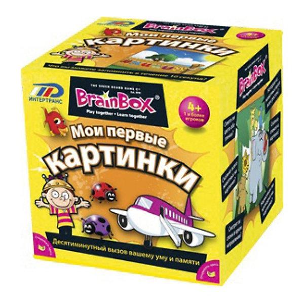 Сундучок знаний  Мои первые картинки,  BrainBoxОкружающий мир<br>Сундучок знаний «Мои первые картинки», BrainBox  (БрейнБокс) – эта игра для детей-дошкольников, которая поможет ребенку развить зрительную память, внимание и речь.<br><br>Ребенок берет карточку и рассматривает картинку. Затем он бросает кубик, чтобы узнать номер вопроса, на который нужно ответить. Часть вопросов на внимательность, а часть – на сообразительность. Если ответ верный, то ребенок оставляет карточку себе, если же нет, то он возвращает карточку назад в сундучок, а право хода передается следующему игроку.  Нужно набрать как можно больше карточек за 10 минут. <br><br>Комплектация:<br>- 55 карточек<br>- карточка-инструкция<br>- песочные часы<br>- кубик<br><br>Дополнительная информация:<br><br>- размер коробки: 12х12х12 см<br>- вес: 700 г<br><br>Сундучок знаний «Мои первые картинки», BrainBox  (БрейнБокс) – познавательная игра для всей семьи. Проведите время с удовольствием и пользой.<br><br>Сундучок знаний «Мои первые картинки», BrainBox  (БрейнБокс) можно купить в нашем магазине.<br><br>Ширина мм: 120<br>Глубина мм: 120<br>Высота мм: 120<br>Вес г: 700<br>Возраст от месяцев: 36<br>Возраст до месяцев: 72<br>Пол: Унисекс<br>Возраст: Детский<br>SKU: 3574595