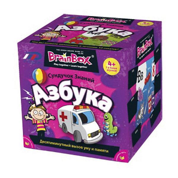 Сундучок знаний  Азбука,  BrainBoxКасса букв<br>Сундучок знаний «Азбука», BrainBox  (БрейнБокс) – увлекательная викторина, с которой ребенок играючи запомнит алфавит.<br><br>Ребенок берет карточку, на которой изображено несколько предметов, объединенных одной буквой или даже слогом в названии. Внимательно изучает карточку, а затем бросает кубик, чтобы узнать номер вопроса, на который нужно ответить. Если ответ верный, то игрок оставляет карточку себе, если же нет, то он возвращает карточку назад в сундучок, а право хода передается следующему игроку.  Нужно набрать как можно больше карточек за 10 минут. <br><br>Комплектация:<br>- 67 карточек<br>- карточка-инструкция<br>- песочные часы<br>- кубик<br><br>Дополнительная информация:<br><br>- размер коробки: 12х12х12 см<br>- вес: 700 г<br><br>Сундучок знаний «Азбука», BrainBox  (БрейнБокс) – прекрасный подарок ребенку, который тренирует память, внимание, учит замечать детали и непринужденно подготавливает ребенка к школе.<br><br>Сундучок знаний «Азбука», BrainBox  (БрейнБокс) можно купить в нашем магазине.<br>Ширина мм: 120; Глубина мм: 120; Высота мм: 120; Вес г: 700; Цвет: wei? Modell 3; Возраст от месяцев: 36; Возраст до месяцев: 72; Пол: Унисекс; Возраст: Детский; SKU: 3574599;