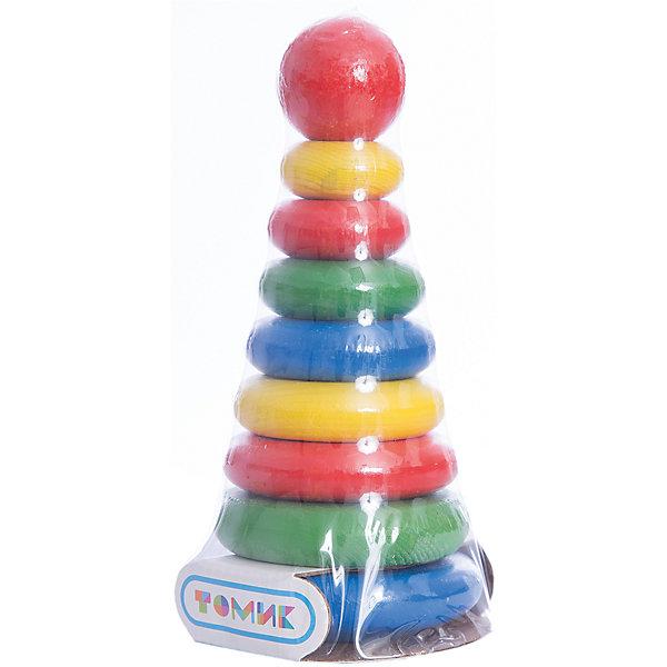 Пирамидка , 9 деталей,  ТомикРазвивающие игрушки<br>Пирамидка, 9 деталей, Томик – красочная пирамидка для малыша из экологически чистого материала.<br><br>Пирамидка – одна из первых игрушек малыша. С помощью пирамидки можно учить цвета, счет и, конечно, тренировать пальчики. Начинать знакомство с ней можно уже с 5-6 месяцев, стимулирую ребенка к ползанию за ярким колечком. Малыш, который уже сидит, может пробовать самостоятельно надевать колечки на пирамидку. Затем, когда у ребенка будет хорошо получаться, научите его собирать пирамидку в правильной последовательности.<br><br>Дополнительная информация:<br><br>- размер упаковки: 21х8,5х8 см<br>- вес: 210 г<br>- материал: дерево<br><br>Пирамидка, 9 деталей, Томик – правильная игрушка для малыша, которая развивает мелкую моторику, координацию движений, логическое мышление.<br><br>Пирамидку, 9 деталей, Томик можно купить в нашем магазине.<br><br>Ширина мм: 210<br>Глубина мм: 85<br>Высота мм: 80<br>Вес г: 220<br>Возраст от месяцев: 12<br>Возраст до месяцев: 36<br>Пол: Унисекс<br>Возраст: Детский<br>SKU: 3574606
