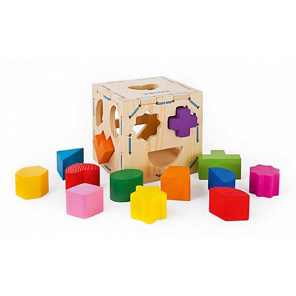 Деревянный сортер Томик Геометрические фигуры, 14 деталейДеревянные игрушки<br>Характеристики:<br><br>• возраст: от 1 года<br>• комплектация: куб, 13 фигурных элементов<br>• размер куба: 12х12х12 см.<br>• толщина стенки куба: 0,07 см.<br>• материал: дерево<br>• упаковка: картонная коробка<br>• размер упаковки: 12х12х12 см.<br>• вес: 461 гр.<br><br>Сортер выполнен в виде деревянного куба, грани которого имеют отверстия разных геометрических форм. В комплекте находятся фигурки, которые ребёнку необходимо вставить в отверстие, подходящее им по форме.<br><br>Развивающая игрушка познакомит ребёнка с видами объёмных геометрических фигур, научит сравнивать форму предмета. Разноцветные фигурки можно использовать для знакомства ребёнка с основными цветами.<br><br>Игрушка выполнена из натурального дерева хвойных пород, экологичный материал тщательно и качественно обработан, имеет гладкую поверхность. Фигурки окрашены стойкими красками, имеют яркие насыщенные цвета, которые со временем не побледнеют. Куб не окрашен.<br><br>Сортер ТОМИК 967 Геометрические фигуры 14 дет можно купить в нашем интернет-магазине.<br>Ширина мм: 120; Глубина мм: 120; Высота мм: 120; Вес г: 461; Возраст от месяцев: 12; Возраст до месяцев: 36; Пол: Унисекс; Возраст: Детский; SKU: 3574610;