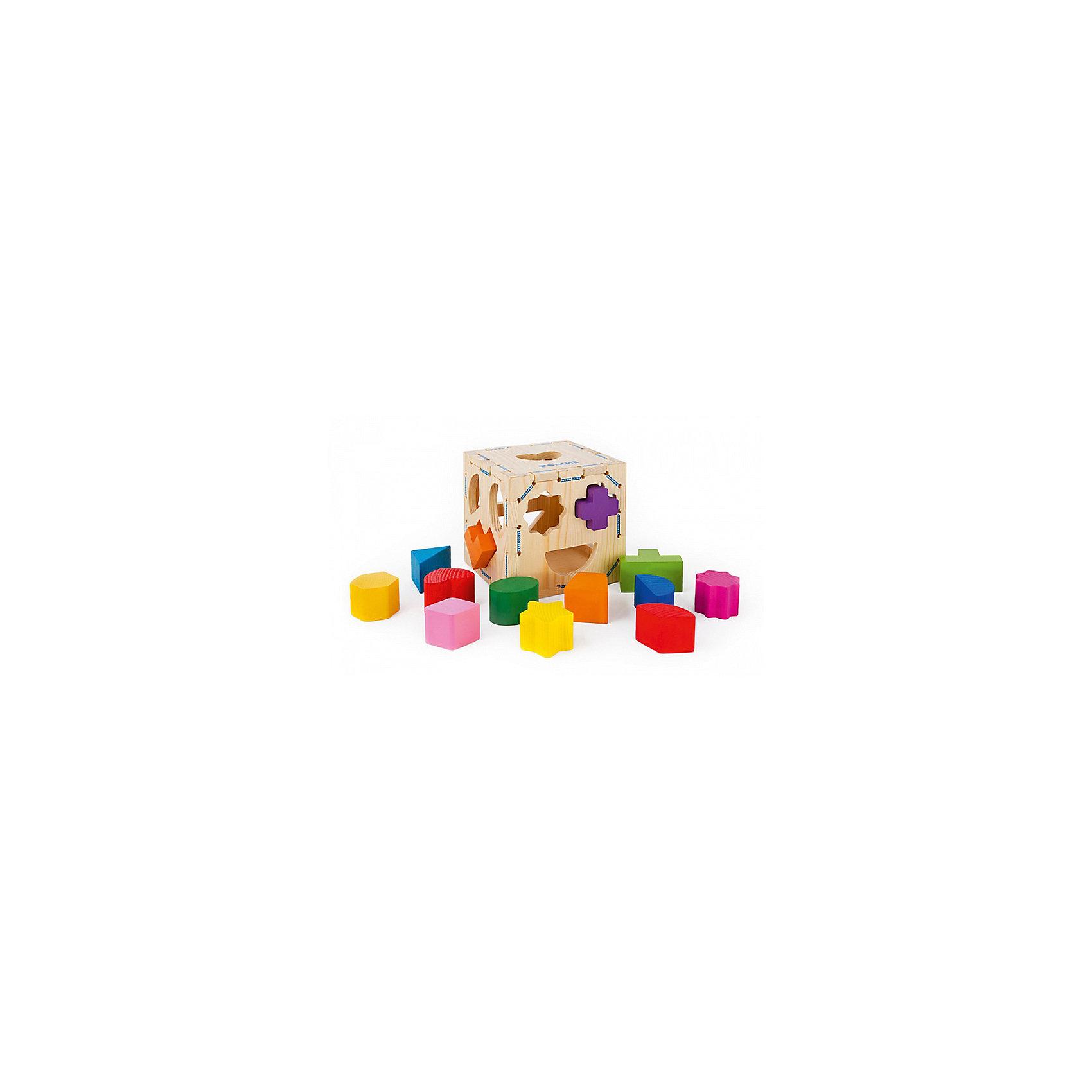 Сортер   Геометрические фигуры, 14 деталей,  ТомикСортеры<br>Сортер «Геометрические фигуры», 14 деталей, Томик – развивающая игрушка-головоломка для развития мелкой моторики, координации и логики ребенка.<br><br>Классификация, или сортировка – это важный навык, которому должен научиться ребенок. Благодаря этому сортеру ребенок познакомится с различными формами и цветами. Задача ребенка – подобрать для определенной геометрической фигуры соответствующее ей отверстие. Снимающаяся верхняя крышка позволяет доставать элементы из сортера. <br> <br>Комплектация:<br>- коробка-сортер<br>- 13 разнообразных геометрических форм<br><br>Дополнительная информация:<br><br>- размер сортера: 12х12х12 см, толщина стенки 7 мм<br>- вес: 520 г<br>- материал: дерево<br><br>Сортер «Геометрические фигуры», 14 деталей, Томик – отличный подарок для ребенка, который  надолго увлечет его и поможет в приобретении необходимых навыков.<br><br>Сортер «Геометрические фигуры», 14 деталей, Томик можно купить в нашем магазине.<br><br>Ширина мм: 120<br>Глубина мм: 120<br>Высота мм: 120<br>Вес г: 550<br>Возраст от месяцев: 12<br>Возраст до месяцев: 36<br>Пол: Унисекс<br>Возраст: Детский<br>SKU: 3574610