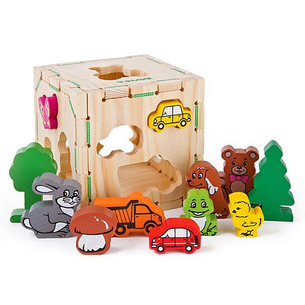 Сортер   Веселые фигурки, 13 деталей,  ТомикРазвивающие игрушки<br>Сортер «Веселые фигурки», 13 деталей, Томик - развивающая игрушка-головоломка для развития мелкой моторики, координации и логики ребенка.<br><br>Классификация, или сортировка – это важный навык, которому должен научиться ребенок. Этот сортер с веселыми фигурками для самых маленьких. Задача ребенка – подобрать для определенной фигурки -  зайчика, машинки, медвежонка, грибочка и других элементов соответствующее отверстие. Снимающаяся верхняя крышка позволяет доставать элементы из сортера. <br> <br>Комплектация:<br>- коробка-сортер<br>- 12 разнообразных фигурок<br><br>Дополнительная информация:<br><br>- размер сортера: 12х12х12 см<br>- вес: 390 г<br>- материал: дерево<br><br>Сортер «Веселые фигурки», 13 деталей, Томик - отличный подарок для ребенка, который  надолго увлечет его и поможет в приобретении необходимых навыков.<br><br>Сортер «Веселые фигурки», 13 деталей, Томик можно купить в нашем магазине.<br>Ширина мм: 120; Глубина мм: 120; Высота мм: 120; Вес г: 400; Возраст от месяцев: 12; Возраст до месяцев: 36; Пол: Унисекс; Возраст: Детский; SKU: 3574611;