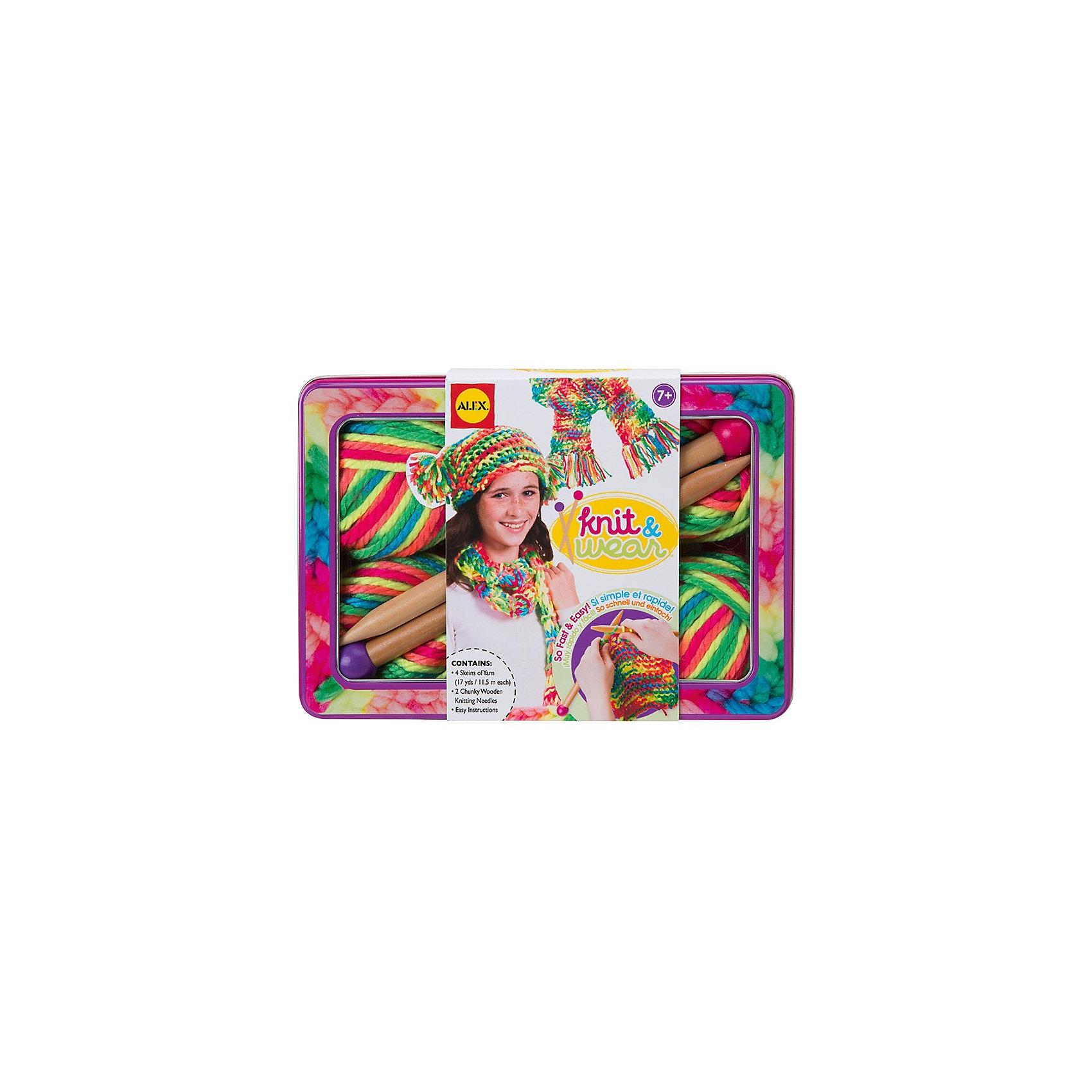 Набор для вязания спицами Разноцветные шарф и шапочка, AlexШерсть<br>Набор для  вязания спицами Разноцветные шарф и шапочка, Alex (Алекс) предназначен для обучения вязанию спицами. Благодаря комплекту девочка освоит вязание спицами и сможет создать великолепный красочный  комплект из шапки и шарфа, переливающихся всеми цветами радуги.<br>Вязание помогает развить воображение и фантазию, а сам процесс будет интересным и увлекательным.<br><br>Дополнительная информация:<br><br>- В наборе:<br>- чемоданчик<br>- 15,5 метров многоцветной нити всех цветов радуги<br>- деревянный спицы: 2 шт<br>- простая инструкция. <br>- размер упаковки: 26 х 18 х 7 см<br><br>Набор для  вязания спицами Разноцветные шарф и шапочка, Alex можно купить  в нашем магазине.<br><br>Ширина мм: 260<br>Глубина мм: 180<br>Высота мм: 70<br>Вес г: 800<br>Возраст от месяцев: 84<br>Возраст до месяцев: 168<br>Пол: Женский<br>Возраст: Детский<br>SKU: 3582871