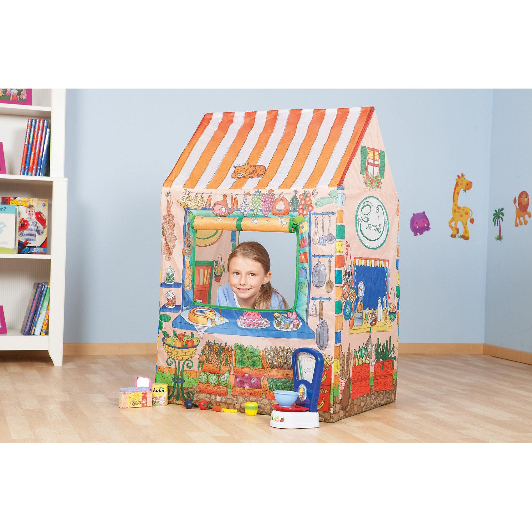 Палатка Магазин, 70*60*110 см, JohnИгровая палатка Магазин, John, станет чудесным подарком для Вашего ребенка и замечательно подойдет для любимой детской игры в магазин. Красочная палатка выполнена в виде продуктового магазина с прилавком, стены украшены изображениями разнообразных продуктов и посуды. Имеется большое окно, которое можно оставлять открытым с помощью креплений-ленточек и открытый проветриваемый верх. Палатка быстро и легко собирается и разбирается. Этот замечательный игровой домик поможет Вашему ребенку создать свой уютный уголок для игр как в помещении, так и на улице. Палатка выполнена из легкого, водонепроницаемого, моющегося материала, компактно складывается и не занимает много места. <br><br>Дополнительная информация:<br><br>- Материал: полиэстер. <br>- Размер палатки: 70 х 60 х 110 см.<br>- Размер упаковки: 36 х 26,5 х 6 см. <br>- Вес: 1 кг. <br><br>Яркая палатка будет чудесным местом для самостоятельной игры ребёнка и отлично подойдёт для сюжетно-ролевых игр. <br><br>Палатку Магазин, John (Джон) можно купить в нашем интернет-магазине.<br><br>Ширина мм: 268<br>Глубина мм: 363<br>Высота мм: 66<br>Вес г: 781<br>Возраст от месяцев: 36<br>Возраст до месяцев: 96<br>Пол: Унисекс<br>Возраст: Детский<br>SKU: 3586574