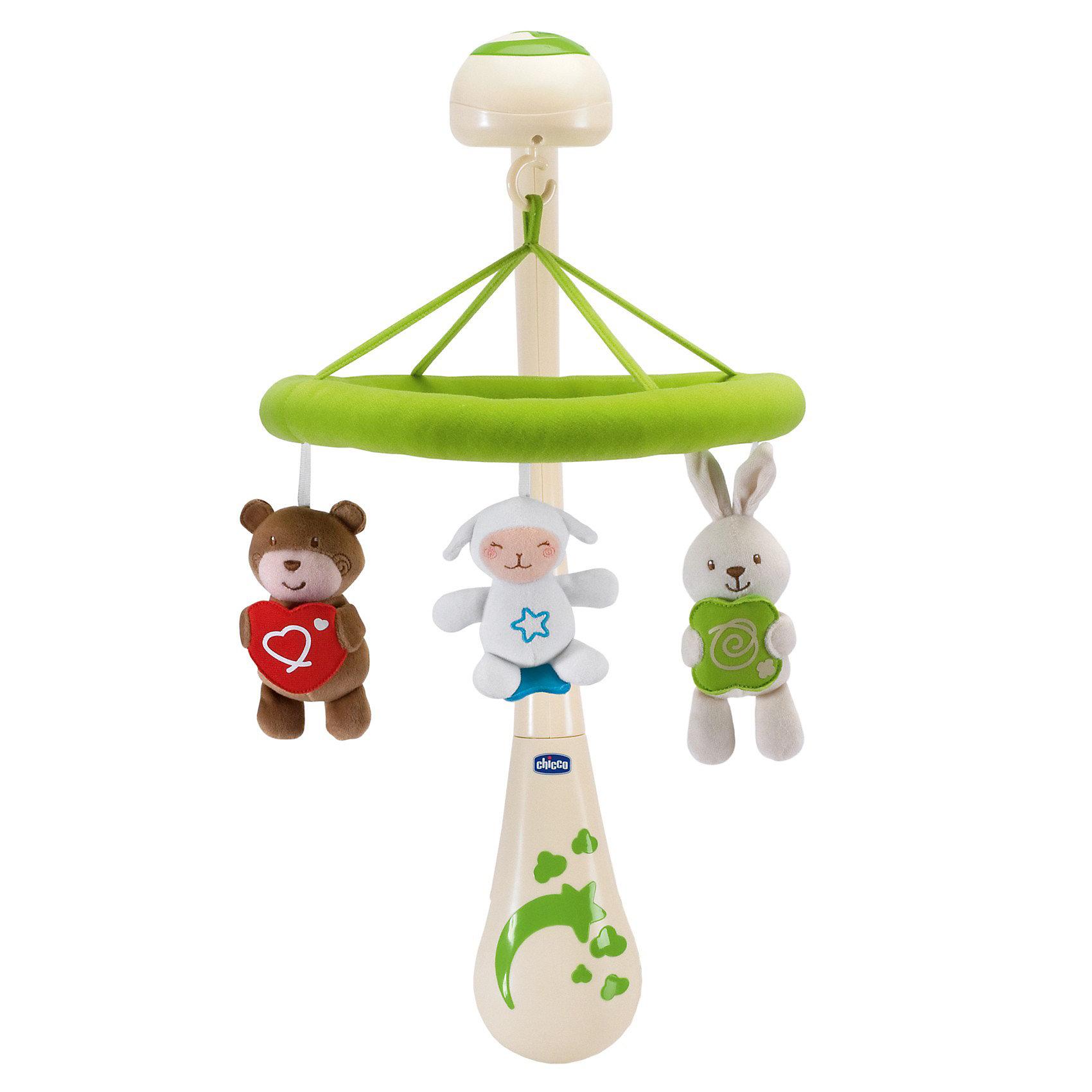 Мобиль Сладкие сны, ChiccoМобиль Сладкие сны, Chicco (Чико) – это электронный мобиль с классической музыкой и подсветкой.<br>Музыкальный мобиль от Chicco Сладкие сны - оригинальная игрушка, создающая атмосферу уюта и спокойствия в детской комнате. Под приятные мелодии на мобиле медленно вращаются три забавных ультрамягких игрушки в виде медвежонка с сердцем в руках, ягненка с вышитой на животике звездочкой и зайчика с подушечкой в руках. К кронштейну мобиля крепится музыкальный блок, а к нему - мягкое кольцо с игрушками. Устройство предусматривает три режима работы: только расслабляющая классическая музыка; музыка и вращение; только вращение. Громкость звука регулируется. Игрушки можно отцеплять от мобиля и играть отдельно. Игрушки-подвески стираются в стиральной машине в режиме деликатной стирки, без потери качества. Подвесные игрушки привлекут внимание малыша и помогут развитию зрения и цветового восприятия, а мелодичные звуки разовьют звуковое восприятие. Мобиль Сладкие сны изготовлен из высококачественных и экологически чистых материалов.<br><br>Дополнительная информация:<br><br>- Материал: пластик, текстиль<br>- Батарейки: 3 типа AA 1,5 V ( в комплект не входят)<br>-  Средняя высота игрушек: 13 см.<br>- Размер упаковки: 40 х 36 х 12 см.<br><br>Мобиль Сладкие сны, Chicco (Чико) можно купить в нашем интернет-магазине.<br><br>Ширина мм: 406<br>Глубина мм: 365<br>Высота мм: 129<br>Вес г: 1289<br>Возраст от месяцев: 0<br>Возраст до месяцев: 24<br>Пол: Унисекс<br>Возраст: Детский<br>SKU: 3587119