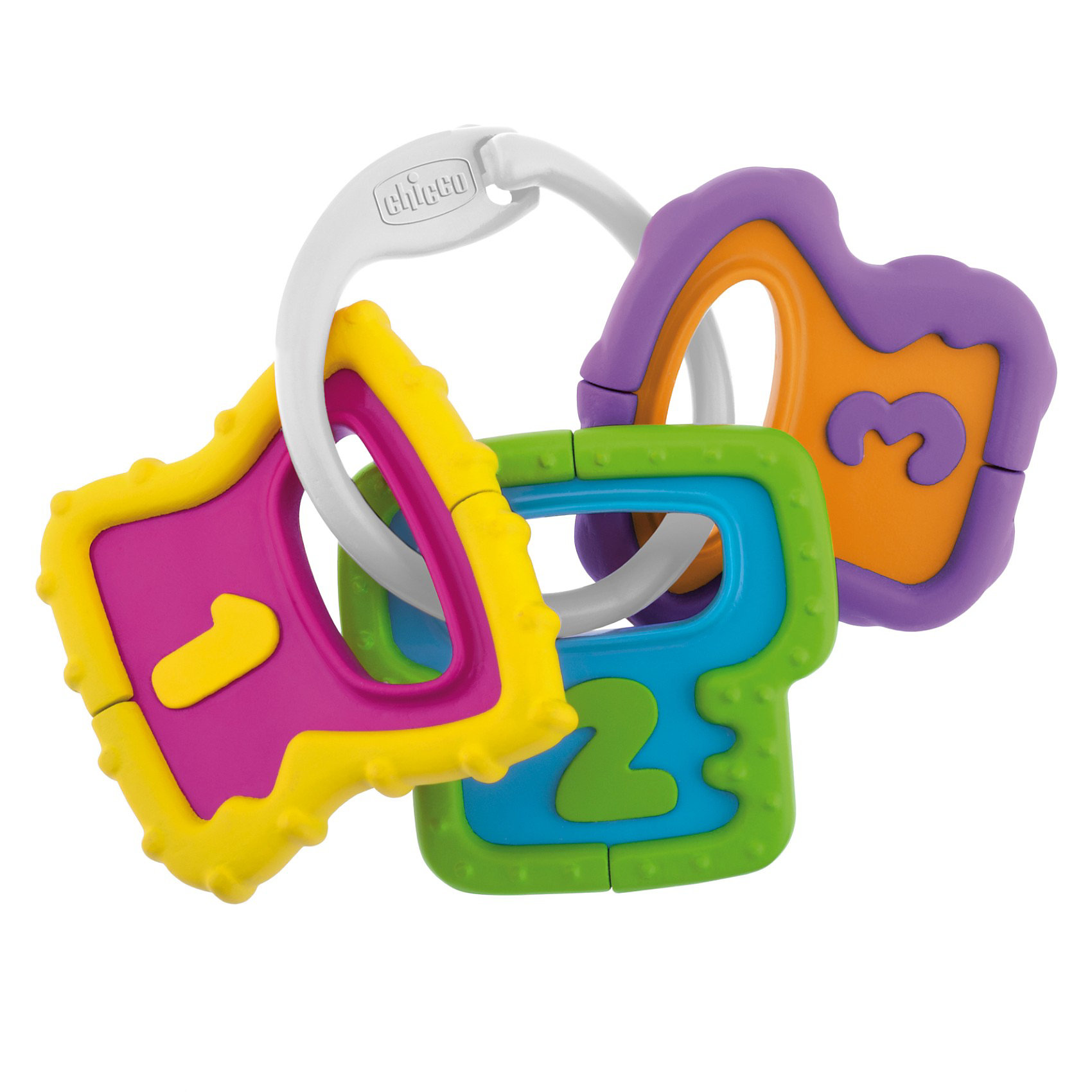 Погремушка Ключики, ChiccoПогремушки<br>Погремушка Ключики, Chicco (Чико) – эта забавная погремушка-прорезыватель привлечет внимание вашего малыша и не позволит ему скучать!<br>Набор удобных для рук ключей состоит из 3 подвесок в форме ключей, с тщательно проработанным рельефом и в контрастных цветах. На каждом ключике имеется выпуклая цифра: 1, 2, 3. Когда ребенок будет трясти их, он услышит приятный стук. А когда зубки начнут резаться, ключики можно погрызть для облегчения зуда. Малыш сможет перебирать ключики, что способствует развитию мелкой моторики.<br><br>Дополнительная информация:<br><br>- Материал: высококачественный пластик<br>- Размер упаковки: 21 x 16,5 x 3,5 см.<br><br>Погремушку Ключики, Chicco (Чико) можно купить в нашем интернет-магазине.<br><br>Ширина мм: 208<br>Глубина мм: 164<br>Высота мм: 33<br>Вес г: 79<br>Возраст от месяцев: 3<br>Возраст до месяцев: 12<br>Пол: Унисекс<br>Возраст: Детский<br>SKU: 3587122