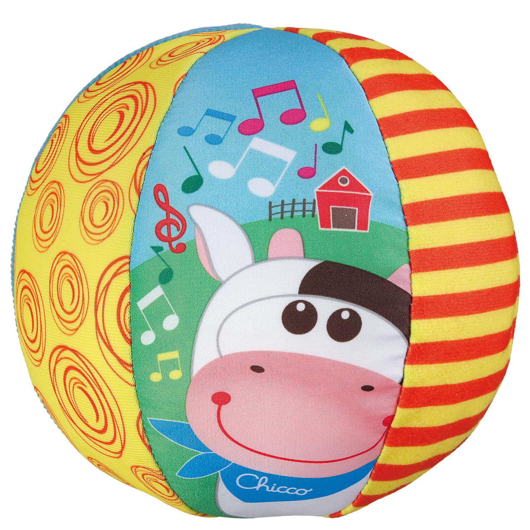 CHICCO Мягкая игрушка Музыкальный мячик, с коровкой, Chicco мячики chicco мягкий мячик 3м