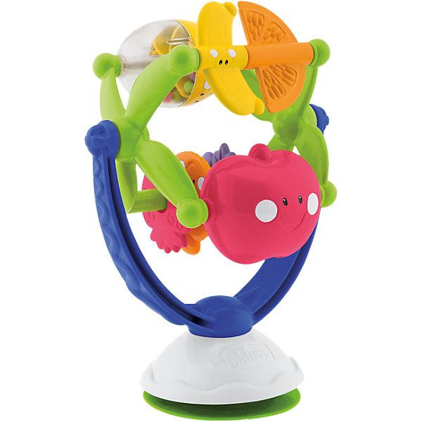 Игрушка для стульчика Музыкальные фрукты, ChiccoИгрушки для новорожденных<br>Игрушка для стульчика Музыкальные фрукты, Chicco (Чико) – это красочная электронная игрушка для детского стула.<br>Игрушка Музыкальные фрукты на присоске, которую можно закрепить на детском стульчике или другой ровной поверхности для удобства малыша. Каждый фрукт имеет свой собственный цвет, форму и поверхность. Их можно поворачивать, это активирует веселую мелодию. Внутри лимона - разноцветные шарики. Яркая игрушка привлечет внимание малыша и увлечет его занимательной игрой. Игрушка развивает мелкую моторику, зрительное восприятие, координацию рук, восприимчивость ребенка к музыке. Изготовлена из безопасного материала.<br><br>Дополнительная информация:<br><br>- Материал: пластик<br>- Батарейки: 2 x 1.5 В LR44 (входят в комплект)<br>- Размер: 17?11?13 см.<br>- Вес: 0,35 кг.<br><br>Игрушку для стульчика Музыкальные фрукты, Chicco (Чико) можно купить в нашем интернет-магазине.<br>Ширина мм: 232; Глубина мм: 157; Высота мм: 124; Вес г: 321; Возраст от месяцев: 6; Возраст до месяцев: 18; Пол: Унисекс; Возраст: Детский; SKU: 3587129;