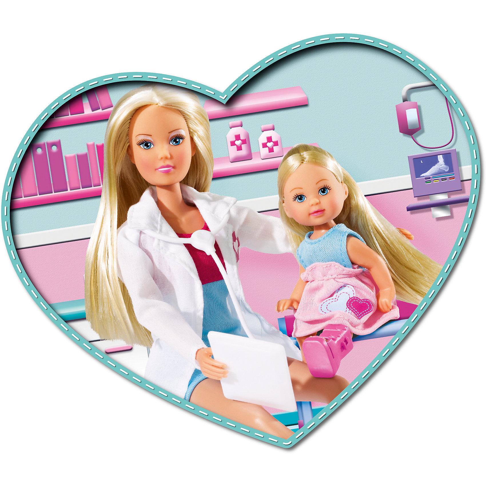 Кукла Штеффи-детский доктор и кукла  Еви, SimbaSteffi и Evi Love<br>Характеристики товара:<br><br>- цвет: разноцветный;<br>- материал: пластик, текстиль;<br>- возраст: от трех лет;<br>- комплектация: 2 куклы, одежда, аксесуары;<br>- высота кукок: 29 и 12 см.<br><br>Эта симпатичная кукла Штеффи в компании Еви от известного бренда приводит детей в восторг! Какая девочка сможет отказаться поиграть с куклами, которые дополнены такими симпатичными нарядами?! В набор входят аксессуары для игр с куклами. Игрушка очень качественно выполнена, поэтому она станет замечательным подарком ребенку. <br>Продается набор в красивой удобной упаковке. Игры с куклами помогают девочкам развить важные навыки и отработать модели социального взаимодействия. Изделие произведено из высококачественного материала, безопасного для детей.<br><br>Куклу Штеффи-детский доктор + кукла Еви, 29 см, от бренда Simba можно купить в нашем интернет-магазине.<br><br>Ширина мм: 329<br>Глубина мм: 161<br>Высота мм: 54<br>Вес г: 301<br>Возраст от месяцев: 36<br>Возраст до месяцев: 72<br>Пол: Женский<br>Возраст: Детский<br>SKU: 3587289