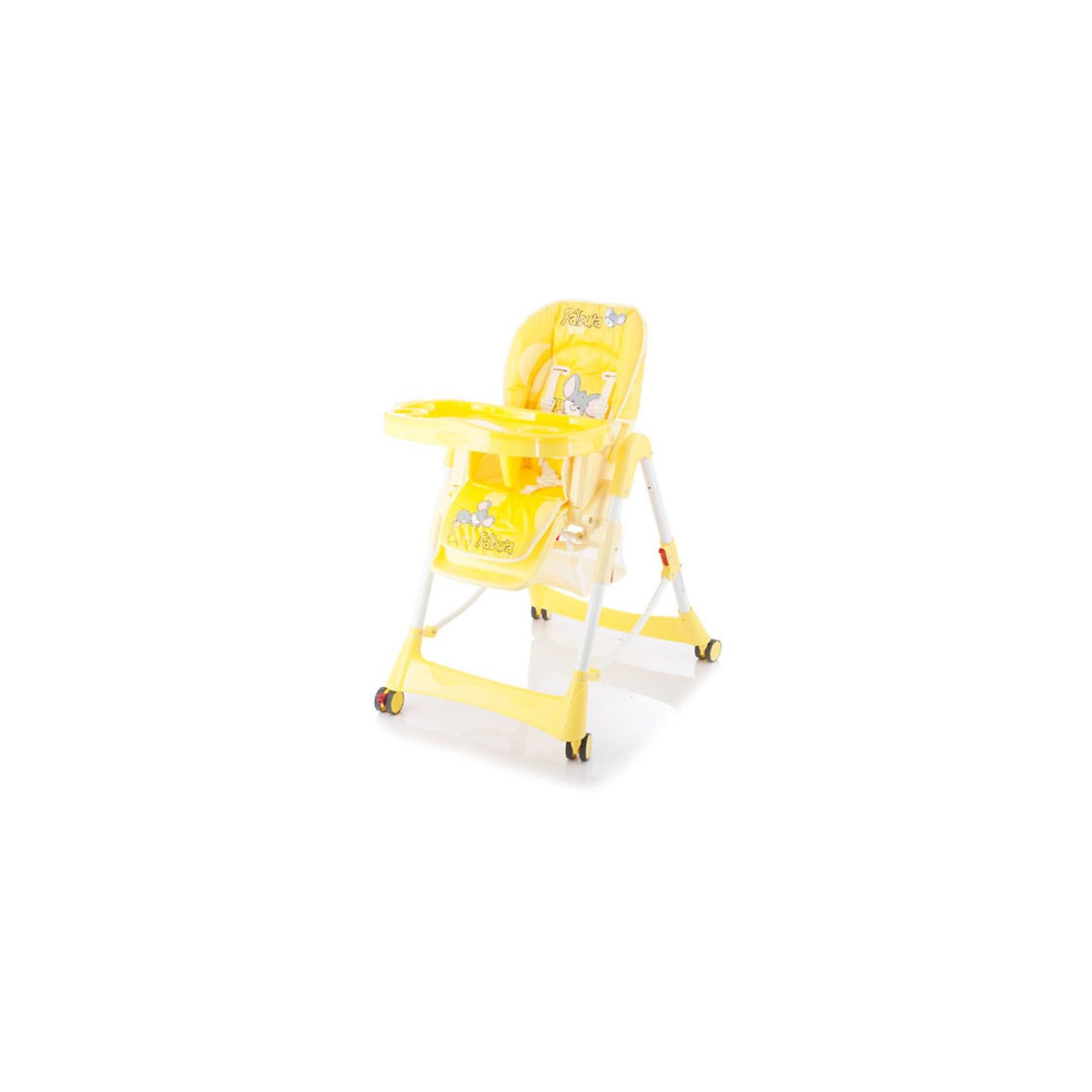 Стульчик для кормления Piero Fabula, Jetem, желтыйДаже при наличии ограниченного пространства, стульчик для кормления Jetem Piero Fabula (Жетем Пьеро Фабула) станет Вашим главным помощником в кормлении и играх с ребенком. Возможность простого складывания до компактных размеров, позволяет данной модели не занимать много лишнего места. Прорезиненные колеса, могут быть использованы для перемещения стульчика по комнате, не прилагая особых усилий, при этом, даже самое деликатное напольное покрытие не поцарапается. Молодой маме будет легко ухаживать за таким изделием, так как оно изготовлено из легко моющейся пластмассы и имеет съемную клеенчатую обивку. А ребенку понравится яркий дизайн и веселая расцветка.<br>Стульчик Jetem Piero Fabula (Жетем Пьеро Фабула) можно регулировать по высоте (6 положений), уровню наклона спинки (3 уровня) и глубине столешницы (3 степени), что позволит Вам удобно и полезно использовать его как для первого прикорма, так и для игр с подросшим малышом. Для обеспечения безопасности Вашего малыша, применяется ограничитель и 5-ти точечные ремни безопасности, а наличие поперечной металлической рамы и регулируемой подножки, придают стульчику максимально надежную устойчивость. Изделие имеет прочную сетку для игрушек ребенка. Комфортный и продуманный стул на все случаи жизни!<br><br>Дополнительная информация:<br><br>- 6 уровней высоты кресла; <br>- 3 положения наклона спинки;<br>- 3 положения глубины столешницы; <br>- 5-ти точечные ремни безопасности; <br>- Ограничитель не позволяет ребенку соскальзывать со стульчика; <br>- Съемная дополнительная прозрачная столешница; <br>- Регулируемая подножка; <br>- Просторная сетка для игрушек; <br>- Устойчиво стоит в сложенном состоянии, что очень важно для ограниченных пространств; <br>- Легко моющаяся клеенчатая обивка; <br>- Прорезиненные колеса, щадящие напольные покрытия; <br>- Рама с поперечной перекладиной для обеспечения максимальной устойчивости; <br>- Эксклюзивный дизайн;<br>- Максимальный вес ребенка: 1