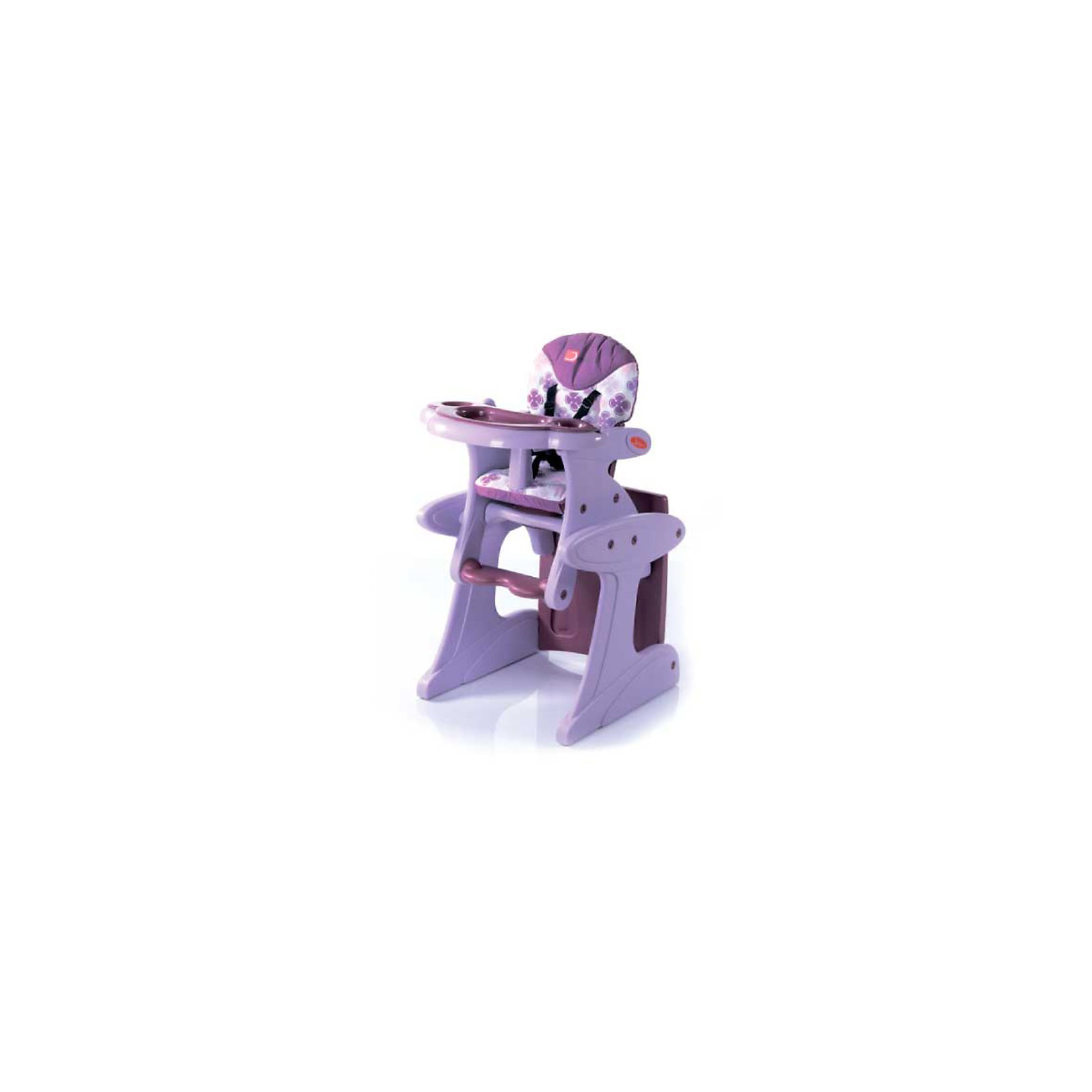 Стульчик-трансформер Magic, Jetem, лиловыйСтульчики для кормления<br>Что может быть интересней, чем кушать за красивым и оригинальным стулом-трансформером Magic, Jetem (Мэджик Жетем)! Причем этот стул-трансформер может быть верным другом не два-три года, а лет пять-шесть. Ведь его так легко превратить в удобную парту, за которой можно рисовать, писать, лепить, заниматься массой других полезных вещей. А когда нужно будет покушать стол быстро и легко превращается в стульчик для кормления. Спинка имеет три положения наклона, позволяя усадить даже маленького ребенка максимально удобно. Столешница также может фиксироваться в трех положениях по глубине. За безопасность отвечают надежные 5-точечные ремни безопасности. Кроме того, модель оснащена съемным ограничителем, который не позволит малышу соскальзывать со стульчика. Стульчик Magic, Jetem (Мэджик Жетем) не снабжен колесами, но основание выполнено таким образом, что он может прекрасно скользить по плитке и другим покрытиям. Стульчик легко складывается и не занимает много места в собранном виде. Кушайте, играйте, творите с Magic, Jetem (Мэджик Жетем)!<br><br>Дополнительная информация:<br><br>- Стульчик для кормления легко трансформируется в стульчик с партой, которые можно использовать до 6 лет;<br>- 3 положения спинки для удобства малыша;<br>- 3 положения глубины столешницы;<br>- 5-ти точечные ремни безопасности (съемные). Можно использовать как 3-х точечные, отстегнув плечевые ремни;<br>- Ограничитель (съемный). Для мам переживающих, что для мальчиков пластиковый ограничитель может быть неудобен, можно открутить его и использовать только ремни безопасности;<br>- Съемная дополнительная столешница;<br>- Стул имеет широкое основание, поэтому он очень устойчивый;<br>- Без колес, но прекрасно скользит по полу;<br>- Матерчатая «дышащая» обивка легко снимается для очистки и на ней удобно сидеть даже летом;<br>- Эксклюзивный дизайн; <br>- Внешний размер (ДxШхВ): 57 х 52 х 100 см;<br>- Ширина сидения 30 см;<br>- Размеры в упак