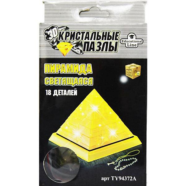 Кристаллический пазл 3D Пирамида, CreativeStudio3D пазлы<br>Кристаллический пазл 3D  Пирамида, светильник L, CreativeStudio (КриэтивСтудио) представляет собой определенное количество пластиковых деталей, которые необходимо сложить так, чтобы получилось объемное изображение пирамиды. <br><br>Фигурка собирается на подставке, а в центр пирамиды устанавливается модуль, состоящий из лампочки и батареек. Все 3D пазлы имеют разную степень сложности, пирамида имеет второй уровень и отлично подойдет начинающим. <br><br>Комплектация: 38 частей, инструкция<br><br>Дополнительная информация:<br>-Масса упаковки: 175 г <br>-Размер упаковки: 135x180x40 мм<br>-Материал: полупрозрачный пластик<br>-Размер готовой пирамиды: около 8 см в высоту<br><br>Разнообразие видов трехмерных интеллектуальных пазлов делает их универсальным подарком для взрослых и детей. Это великолепное украшение любого интерьера и прекрасный подарок!<br><br>Кристаллический пазл 3D  Пирамида, светильник L, CreativeStudio (КриэтивСтудио) можно купить в нашем магазине.<br>Ширина мм: 135; Глубина мм: 180; Высота мм: 40; Вес г: 250; Возраст от месяцев: 36; Возраст до месяцев: 192; Пол: Унисекс; Возраст: Детский; Количество деталей: 18; SKU: 3588196;
