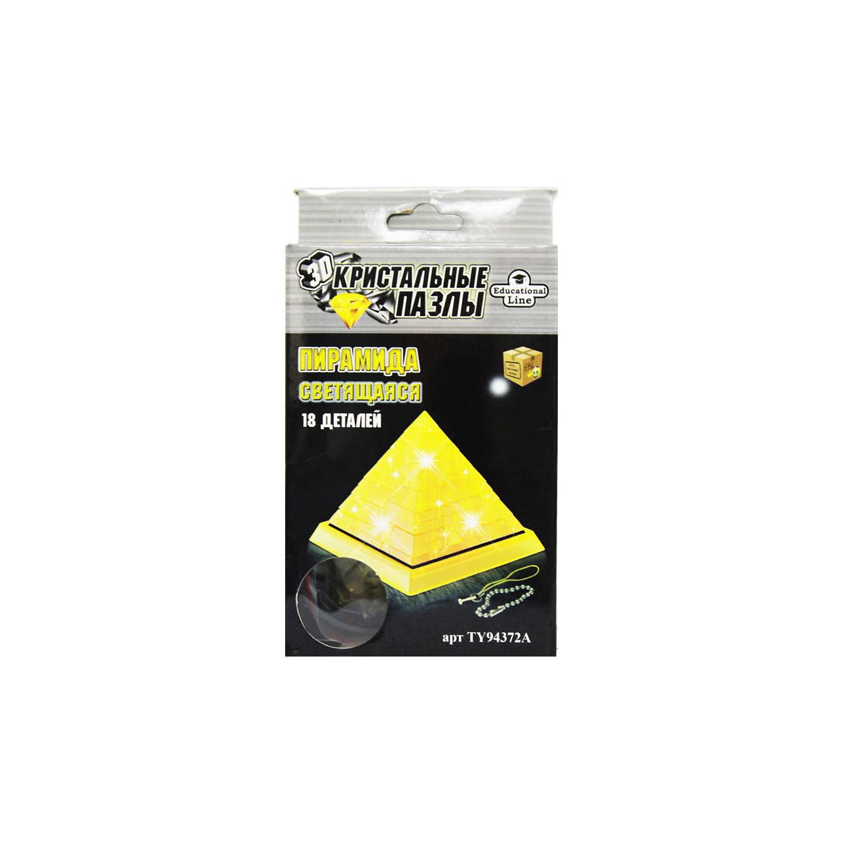 Кристаллический пазл 3D Пирамида, CreativeStudioКристаллический пазл 3D  Пирамида, светильник L, CreativeStudio (КриэтивСтудио) представляет собой определенное количество пластиковых деталей, которые необходимо сложить так, чтобы получилось объемное изображение пирамиды. <br><br>Фигурка собирается на подставке, а в центр пирамиды устанавливается модуль, состоящий из лампочки и батареек. Все 3D пазлы имеют разную степень сложности, пирамида имеет второй уровень и отлично подойдет начинающим. <br><br>Комплектация: 38 частей, инструкция<br><br>Дополнительная информация:<br>-Масса упаковки: 175 г <br>-Размер упаковки: 135x180x40 мм<br>-Материал: полупрозрачный пластик<br>-Размер готовой пирамиды: около 8 см в высоту<br><br>Разнообразие видов трехмерных интеллектуальных пазлов делает их универсальным подарком для взрослых и детей. Это великолепное украшение любого интерьера и прекрасный подарок!<br><br>Кристаллический пазл 3D  Пирамида, светильник L, CreativeStudio (КриэтивСтудио) можно купить в нашем магазине.<br><br>Ширина мм: 135<br>Глубина мм: 180<br>Высота мм: 40<br>Вес г: 250<br>Возраст от месяцев: 36<br>Возраст до месяцев: 192<br>Пол: Унисекс<br>Возраст: Детский<br>Количество деталей: 18<br>SKU: 3588196