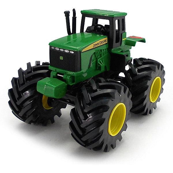 Tрактор с большими колесами и вибрацией, Monster ThreadМашинки<br>Трактор Monster Thread John Deer, Tomy (Томи) - это уменьшенная модель настоящего сельскохозяйственного трактора, выполненная в высоком качестве и с большим вниманием к деталям. Трактор John Deer незаменим для лесного хозяйства и для перевозки бревен, а его мощные колеса обеспечивают проходимость по любому бездорожью. Модель оснащена реалистичной кабиной для водителя с рулем и сиденьем, сбоку маленькая лестница. Крупные колёса трактора с протекторами, что обеспечивает тихий ход машины и сохранность напольного покрытия. Игрушка<br>обладает звуковыми эффектами: при нажатии на кнопку трактор вибрирует и издает характерный звуки работающей машины.<br><br><br> Дополнительная информация:<br><br>- Материал: высококачественный пластик. <br>- Требуются батарейки: 3 х AAA (входят в комплект).<br>- Размер игрушки: 23,5 x 15,5 x 20 см. <br>- Размер упаковки: 26 x 17 x 22 см.  <br>- Вес: 0,912 кг. <br><br>Tрактор с большими колесами и вибрацией, Monster Thread, Tomy (Томи), можно купить в нашем интернет-магазине.<br><br>Ширина мм: 221<br>Глубина мм: 258<br>Высота мм: 172<br>Вес г: 928<br>Возраст от месяцев: 36<br>Возраст до месяцев: 96<br>Пол: Мужской<br>Возраст: Детский<br>SKU: 3592465