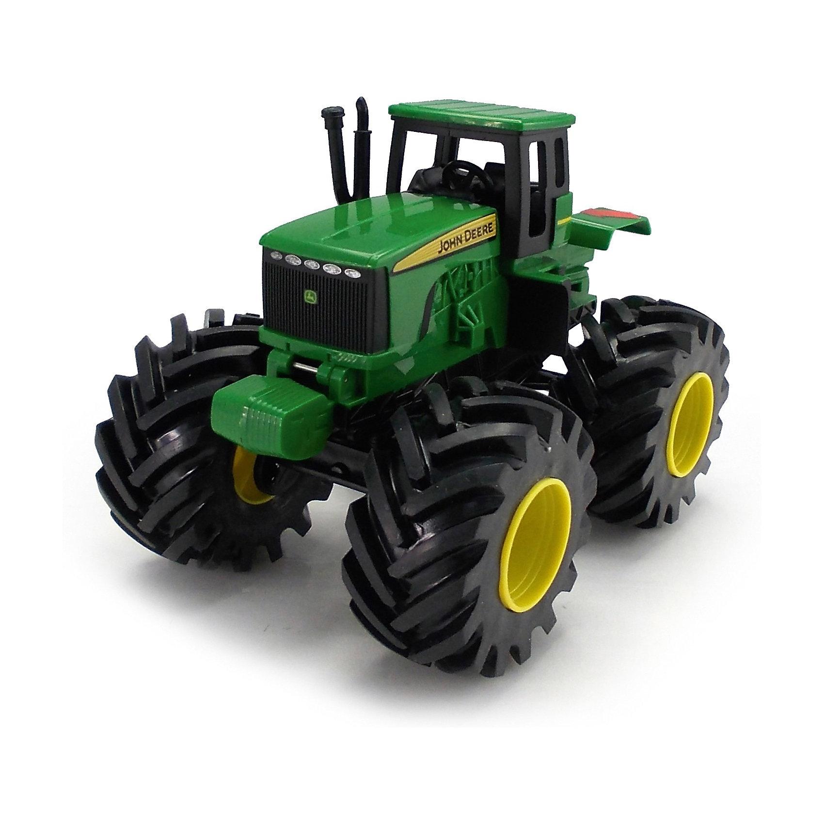 Tрактор с большими колесами и вибрацией, Monster ThreadМашинки<br>Трактор Monster Thread John Deer, Tomy (Томи) - это уменьшенная модель настоящего сельскохозяйственного трактора, выполненная в высоком качестве и с большим вниманием к деталям. Трактор John Deer незаменим для лесного хозяйства и для перевозки бревен, а его мощные колеса обеспечивают проходимость по любому бездорожью. Модель оснащена реалистичной кабиной для водителя с рулем и сиденьем, сбоку маленькая лестница. Крупные колёса трактора с протекторами, что обеспечивает тихий ход машины и сохранность напольного покрытия. Игрушка<br>обладает звуковыми эффектами: при нажатии на кнопку трактор вибрирует и издает характерный звуки работающей машины.<br><br><br> Дополнительная информация:<br><br>- Материал: высококачественный пластик. <br>- Требуются батарейки: 3 х AAA (входят в комплект).<br>- Размер игрушки: 23,5 x 15,5 x 20 см. <br>- Размер упаковки: 26 x 17 x 22 см.  <br>- Вес: 0,912 кг. <br><br>Tрактор с большими колесами и вибрацией, Monster Thread, Tomy (Томи), можно купить в нашем интернет-магазине.<br><br>Ширина мм: 271<br>Глубина мм: 226<br>Высота мм: 180<br>Вес г: 929<br>Возраст от месяцев: 36<br>Возраст до месяцев: 96<br>Пол: Мужской<br>Возраст: Детский<br>SKU: 3592465