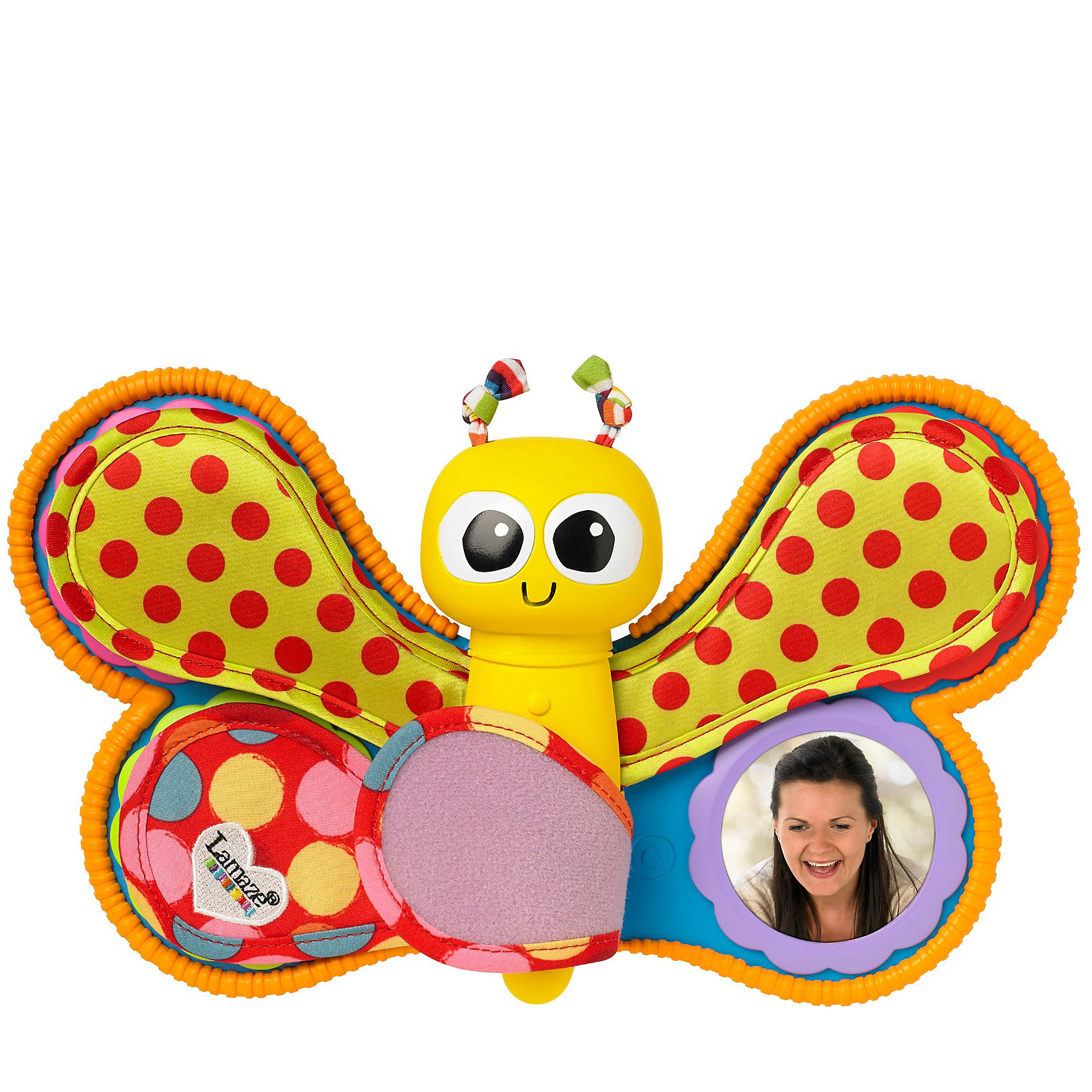 Фотоальбом Смотри и Слушай, LamazeРазвивающие игрушки<br>Веселая бабочка - это не просто замечательная яркая игрушка, это - первый альбом малыша! В каждом из крылышек бабочки прячется фотография. Малыш будет рад увидеть знакомые лица и послушать любимые мелодии и голоса (можно записать). Мягкий фотоальбом из тканей разной фактуры не только порадует вашего кроху, но и поможет развить тактильные ощущения, звуковое и цветовое восприятие. <br><br>Дополнительная информация:<br><br>- Материал: текстиль, пластик.<br>- Цвет: разноцветный.<br>- Размер: 27,2х30,5 см. <br>- Элемент питания: 2 ААА батарейки (демонстрационные в комплекте).<br><br>Фотоальбом Смотри и Слушай, Lamaze можно купить в нашем магазине.<br><br>Ширина мм: 309<br>Глубина мм: 225<br>Высота мм: 76<br>Вес г: 372<br>Возраст от месяцев: 6<br>Возраст до месяцев: 36<br>Пол: Унисекс<br>Возраст: Детский<br>SKU: 3592710
