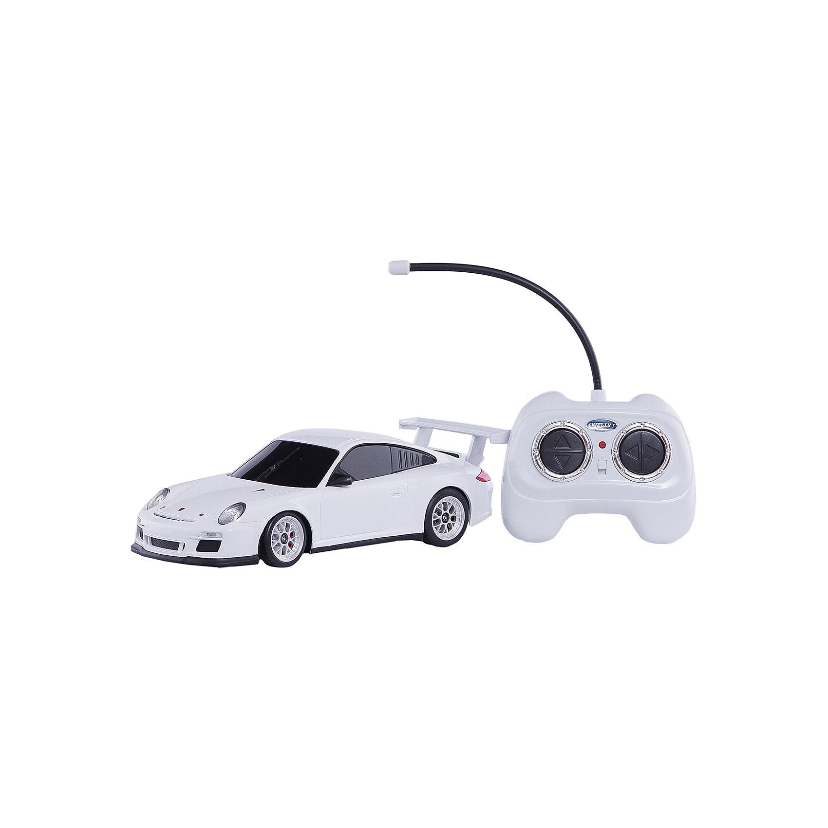 Модель машины 1:24 Porsche 911 GT3 Cup, р/у, WellyКоллекционные модели<br>Модель машины 1:24 Porsche 911 GT3 Cup, р/у, Welly (Велли) — уменьшенная копия настоящего автомобиля Porsche 911 GT3 Cup. Машинка выполнена с высокой степенью детализации и управляется с помощью пульта.  Модель может двигаться в четырех направлениях (вперед, назад, влево, вправо).<br>Игра с машинками отлично развивает воображение и мелкую моторику.<br>Машинка на радиоуправлении — мечта любого мальчишки!<br><br>Дополнительная информация:<br><br>- Размер: 26,5 х 11 х 13 см<br>- Материал: пластик<br>- Радиус действия пульта: 30 м<br>- Батарейки: 5 х ААА, в комплект не входят.<br>- Вес: 500 г.<br><br>Модель машины 1:24 Porsche 911 GT3 Cup, р/у, Welly (Велли) можно купить в нашем интернет-магазине.<br><br>Ширина мм: 265<br>Глубина мм: 110<br>Высота мм: 130<br>Вес г: 500<br>Возраст от месяцев: 60<br>Возраст до месяцев: 192<br>Пол: Мужской<br>Возраст: Детский<br>SKU: 3593300