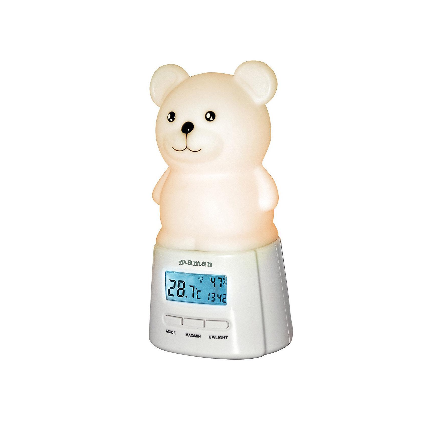 Термометр-гигрометр Maman BL201Термометр-гигрометр Maman BL201 - это совершенно необходимый аксессуар для детской комнаты, который позволит всегда контролировать температуру и влажность в помещении где спит и играет малыш. Ведь для правильного развития ребенка он не должен дышать слишком теплым и сухим воздухом. Симпатичный ночничок в виде мишки включается и выключается одним прикосновением к сенсорной зоне. Он может менять цвет при изменении температуры и обязательно понравится Вашему малышу!<br><br>Дополнительная информация: <br><br>- Комплектация: термогигрометр; мини usb-кабель; 2 батарейки типа ААА 1,5В; руководство пользователя;<br>- 3 режима работы функции ночника:<br>ручное изменение цвета<br>автоматическое изменение цвета<br>изменение цвета в зависимости от комнатной                  температуры:<br>Красный - Свыше 30,0°С<br>Розовый - 26,0 до 29,9°С<br>Оранжевый - 21,0 до 25,9°С<br>Зеленый - 17,0 до 20,9°С<br>Фиолетовый - 10,0 до 16,9°С<br>Белый Ниже - 9,9°С<br>- Измерение комнатной температуры;<br>- Измерение влажности в помещении;<br>- Часы;<br>- Будильник; <br>- Ночник (3 режима работы, 7 цветов освещения, сенсорное управление);<br>- Память максимальных и минимальных значений температуры и влажности;<br>- Возможность подзарядки аккумулятора (для работы ночника) от USB (кабель в комплекте);<br>- Диапазон измерения температуры: 0-50 градусов;<br>- Диапазон измерения влажности: 25-85%.<br><br>Термометр-гигрометр Maman BL201 можно купить в нашем интернет-магазине.<br><br>Ширина мм: 85<br>Глубина мм: 110<br>Высота мм: 225<br>Вес г: 380<br>Возраст от месяцев: 0<br>Возраст до месяцев: 1188<br>Пол: Унисекс<br>Возраст: Детский<br>SKU: 3593311