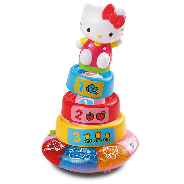 Обучающая пирамида Hello Kitty, VtechHello Kitty<br>Обучающая пирамида Hello Kitty (Хелло Китти) от Vtech с тремя кольцами позволяет обучить ребенка цветам и формам, а также поможет научить малыша считать от 1 до 3. Разбирая и собирая пирамидку ребенок будет развивать мелкую моторику, а световые и звуковые эффекты не заставят ребенка скучать. <br>Пирамидка выполнена в ярких цветах, фигурка кошечки Хелло Кити съемная.<br><br>Дополнительная информация:<br><br>- 4 кнопки у основания пирамиды<br>- 3 съемных кольца<br>- 3 световые кнопки<br>- 2 песенки<br>- 17 мелодий<br>- 2 режима игры<br>- Пирамидка работает от батареек<br>- Материал: пластик<br>- Размеры упаковки: 24 х 15 х 20 см<br><br>Обучающую пирамиду Hello Kitty, Vtech можно купить в нашем магазине.<br>Ширина мм: 240; Глубина мм: 150; Высота мм: 200; Вес г: 800; Возраст от месяцев: 12; Возраст до месяцев: 36; Пол: Женский; Возраст: Детский; SKU: 3596326;
