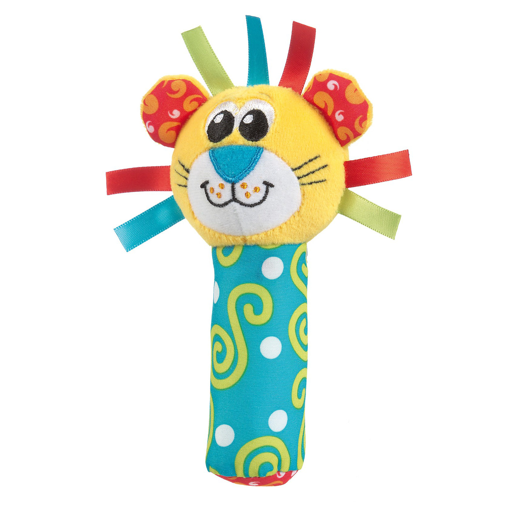 Игрушка-пищалка Лев, PlaygroИгрушка-пищалка Лев, Playgro (Плейгро) подарит малышу новые впечатления и радостную улыбку.<br>Яркая игрушка-пищалка Лев привлечет внимание вашего малыша и не позволит ему скучать. Она выполнена из текстильных материалов разных цветов и фактур в виде головы льва с широкой улыбкой на мордочке, и шикарной гривой из атласных лент, которая крепится к мягкой ручке. Внутри ручки спрятана пищалка. Стоит малышу сжать ручку игрушки, как он услышит забавный звук. Игрушка очень удобна, легко поместится в маленьких детских руках. Малыш сможет ее держать, трясти, перекладывать из одной ручки в другую. Игрушка-пищалка Лев  способствует развитию мышления, координации движений, звукового и цветового восприятия, тактильных ощущений, совершенствует моторику нежных пальчиков малыша. Изготовлена из безопасных для здоровья ребенка материалов.<br><br>Дополнительная информация:<br><br>- Материалы: плюш, хлопок, атлас<br>- Высота: 17 см.<br><br>Игрушку-пищалку Лев, Playgro (Плейгро) можно купить в нашем интернет-магазине.<br><br>Ширина мм: 100<br>Глубина мм: 210<br>Высота мм: 50<br>Вес г: 84<br>Возраст от месяцев: 0<br>Возраст до месяцев: 12<br>Пол: Унисекс<br>Возраст: Детский<br>SKU: 3599514