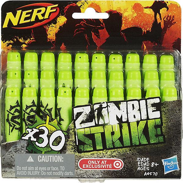 Комплект 30 зомби-стрел для бластеров, NERFИгрушечное оружие<br>Комплект 30 стрел для бластеров Зомби, NERF (Нерф) известны своим потрясающе стильным, ярким дизайном, удобством использования, высокой дальностью полета стрел, аккуратностью и долговечностью. <br><br>Имея такую игрушку, ваш малыш будет невероятно доволен, ведь она способна мотивировать на подвижные игры, а ее возможности оставят противника далеко позади.<br><br>Характеристики:<br>-Дальность полета стрел: около 20 м<br>-Стрелы подходят к любому бластеру серий Элит и Зомби<br><br>Комплектация: 30 стрел<br><br>Дополнительная информация:<br>-Материал: винил, резина<br>-Размеры: 16х4х16 см<br><br>Комплект из 30 стрел станет отличным дополнением подарка, ведь чтобы быть полностью вооруженным, обязательно нужно иметь дополнительный запас. <br><br>Комплект 30 стрел для бластеров Зомби, NERF (Нерф) можно купить в нашем магазине.<br><br>Ширина мм: 44<br>Глубина мм: 159<br>Высота мм: 152<br>Вес г: 105<br>Возраст от месяцев: 96<br>Возраст до месяцев: 144<br>Пол: Мужской<br>Возраст: Детский<br>SKU: 3600147