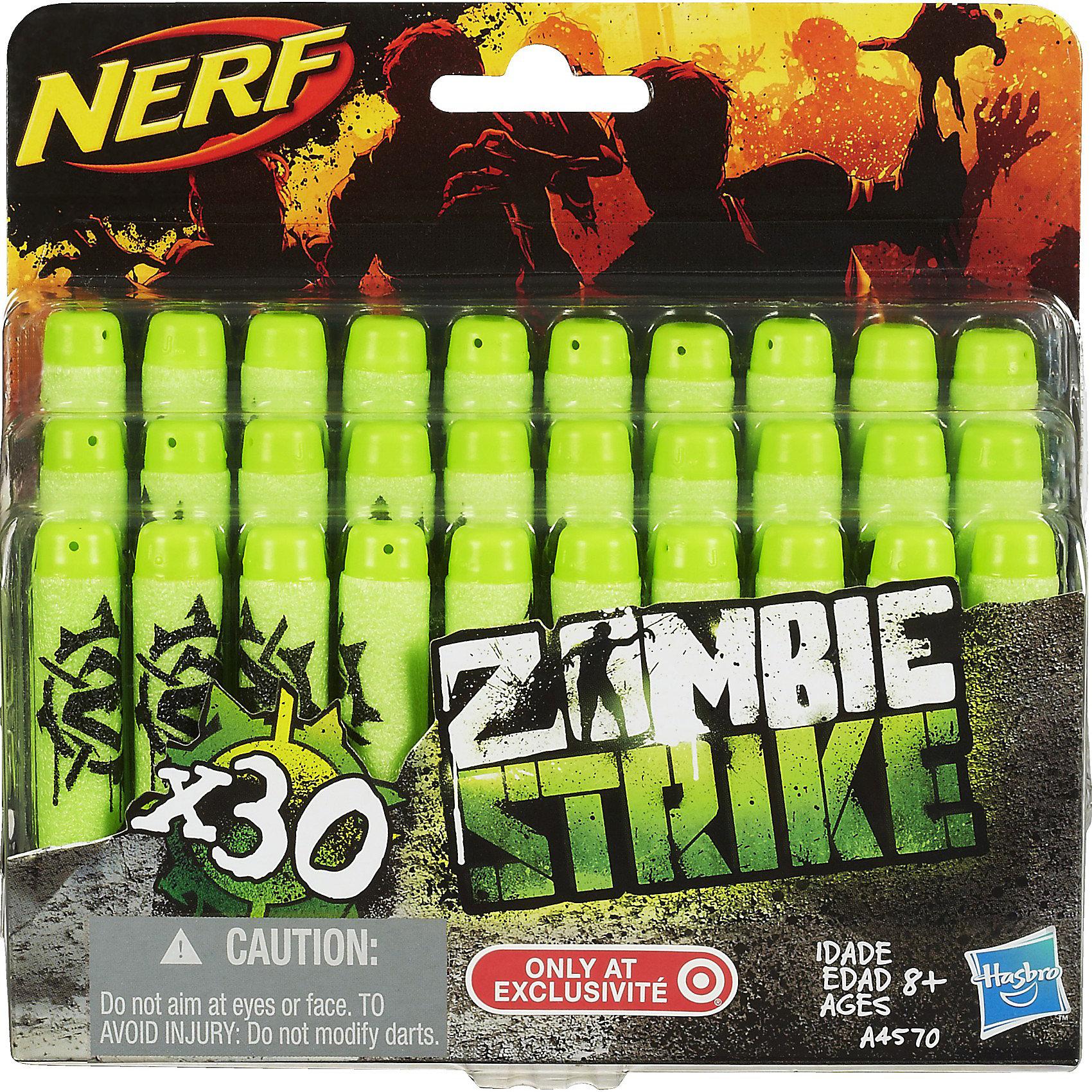 Комплект 30 зомби-стрел для бластеров, NERFКомплект 30 стрел для бластеров Зомби, NERF (Нерф) известны своим потрясающе стильным, ярким дизайном, удобством использования, высокой дальностью полета стрел, аккуратностью и долговечностью. <br><br>Имея такую игрушку, ваш малыш будет невероятно доволен, ведь она способна мотивировать на подвижные игры, а ее возможности оставят противника далеко позади.<br><br>Характеристики:<br>-Дальность полета стрел: около 20 м<br>-Стрелы подходят к любому бластеру серий Элит и Зомби<br><br>Комплектация: 30 стрел<br><br>Дополнительная информация:<br>-Материал: винил, резина<br>-Размеры: 16х4х16 см<br><br>Комплект из 30 стрел станет отличным дополнением подарка, ведь чтобы быть полностью вооруженным, обязательно нужно иметь дополнительный запас. <br><br>Комплект 30 стрел для бластеров Зомби, NERF (Нерф) можно купить в нашем магазине.<br><br>Ширина мм: 44<br>Глубина мм: 159<br>Высота мм: 152<br>Вес г: 105<br>Возраст от месяцев: 96<br>Возраст до месяцев: 144<br>Пол: Мужской<br>Возраст: Детский<br>SKU: 3600147
