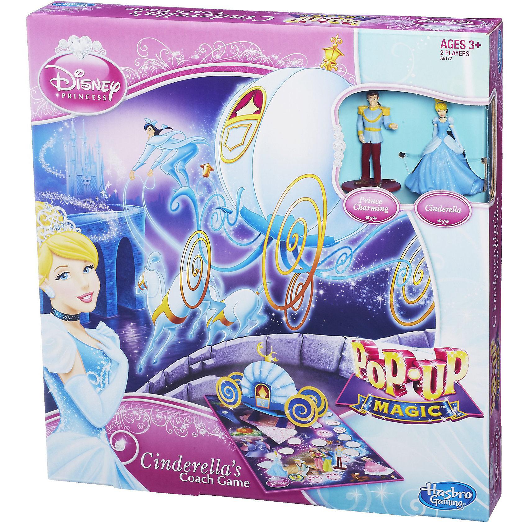 Игра Золушка: Волшебное путешествие, Принцессы Дисней, HasbroИгра Золушка: Волшебное путешествие, Disney Princess (Дисней Принцесса) позволит окунуться в атмосферу бала, на котором побывала Золушка. <br><br>Поставьте фигурки персонажей на позицию «Старт» на игровом поле.  У каждого персонажа есть по 3 значка с изображением его друзей. Значки необходимо перемешать и перевернуть лицевой стороной вниз, разложив перед игровым полем. Далее необходимо раскрутить рулетку и идти вперед на выпавшее число клеток. В зависимости от клетки, на которую пришел игрок, возможны следующие варианты ходов:<br>-Если клетка, на которой остановился игрок, занята, необходимо идти вперед к следующей свободной клетке;<br>-Если игрок остановился на камне, то его ход завершен;<br>-Если игрок остановился на клетке с изображением злой мачехи, то ему придется вернуться назад на 3 клетки и право хода переходит к следующему игроку;<br>-Если игрок остановился на драгоценном камне, пусть перевернет значок «Друзья», в случае если персонаж оказался другом, игрок имеет право пройти на 6 клеток вперед;<br>-Если под значком оказался не его друг игрока, то право хода переходит к следующему игроку.<br><br>Побеждает тот игрок, чья принцесса первой доберется до волшебного замка. Для того, чтобы волшебство продолжалось, вы можете объединить другие игровые поля серии (Замок для принцесс или Башня Рапунцель) в одно огромное королевство с потрясающими персонажами и увлекательными приключениями. <br><br>Комплектация: игровое поле, рулетка, 2 фигурки персонажей, 6 значков «Друзья», соединительный элемент для игровых полей.<br><br>Дополнительная информация:<br>-Размер упаковки: 26,7х24,5х4,1 см<br>-Материалы: картон, пластмасса<br>-Вес в упаковке: 375 г<br><br>Настольная игра Волшебное путешествие – это очень яркая, красочная и увлекательная, поэтому Ваша маленькая принцесса не останется равнодушной к такому подарку!<br><br>Игра Золушка: Волшебное путешествие, Disney Princess (Дисней Принцесса) можно купить в нашем 