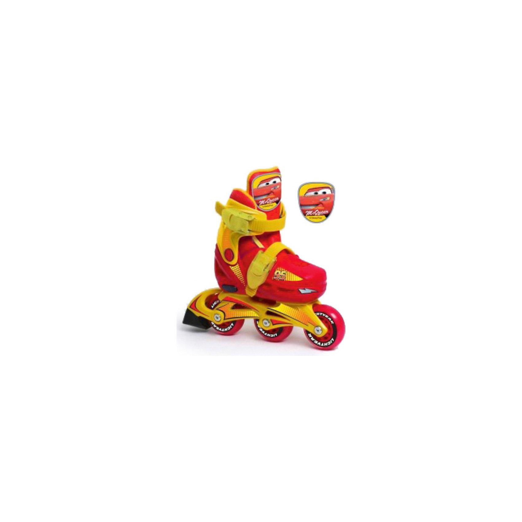 Роликовые коньки с пластиковой рамой, ТачкиУдобные детские раздвижные ролики Тачки (Cars) идеально подходят для комфортного и безопасного катания Вашего ребенка. Их вполне могут использовать как малыши, которые только учатся роликовому спорту, так и дети постарше. Ролики выполнены в стиле популярного диснеевского мультфильма Тачки (Cars) и украшены изображением главного персонажа Молнии МакКуина.<br><br>Жесткий ботинок со съемным внутренним сапожком обеспечивает удобство и безопасность во время катания. Специальные застежки - клипсыа с фиксатором - хорошо фиксируют ногу. Ролики оснащены кнопочной системой раздвижения на 3 полных размера, что позволяет использовать их несколько сезонов. На заднем колесе имеется тормоз.<br><br>В роликах предусмотрена функция изменения конфигурации расположения колес (функция 2 в 1), колеса можно располагать как традиционно в линию, так и сдваивать задние колеса путем переноса среднего колеса назад. Данная функция помогает начинающим роллерам набираться опыта и держать равновесие с меньшим риском упасть и получить травму.<br><br>Дополнительная информация:<br><br>- Материал: пластик, текстиль.<br>- Рама пластиковая.<br>- Размер упаковки: 32 х 11 х 42 см. <br>- Вес: 1,9 кг. <br><br>Катание на роликах способствует общему физическому развитию ребенку, тренирует ловкость, координацию движений и выносливость.<br><br>Роликовые коньки с пластиковой рамой, Тачки (Cars) можно купить в нашем интернет-магазине.<br><br>Ширина мм: 310<br>Глубина мм: 100<br>Высота мм: 420<br>Вес г: 1900<br>Цвет: красно-черный<br>Возраст от месяцев: 36<br>Возраст до месяцев: 84<br>Пол: Мужской<br>Возраст: Детский<br>Размер: 30-33,26-29<br>SKU: 3602830