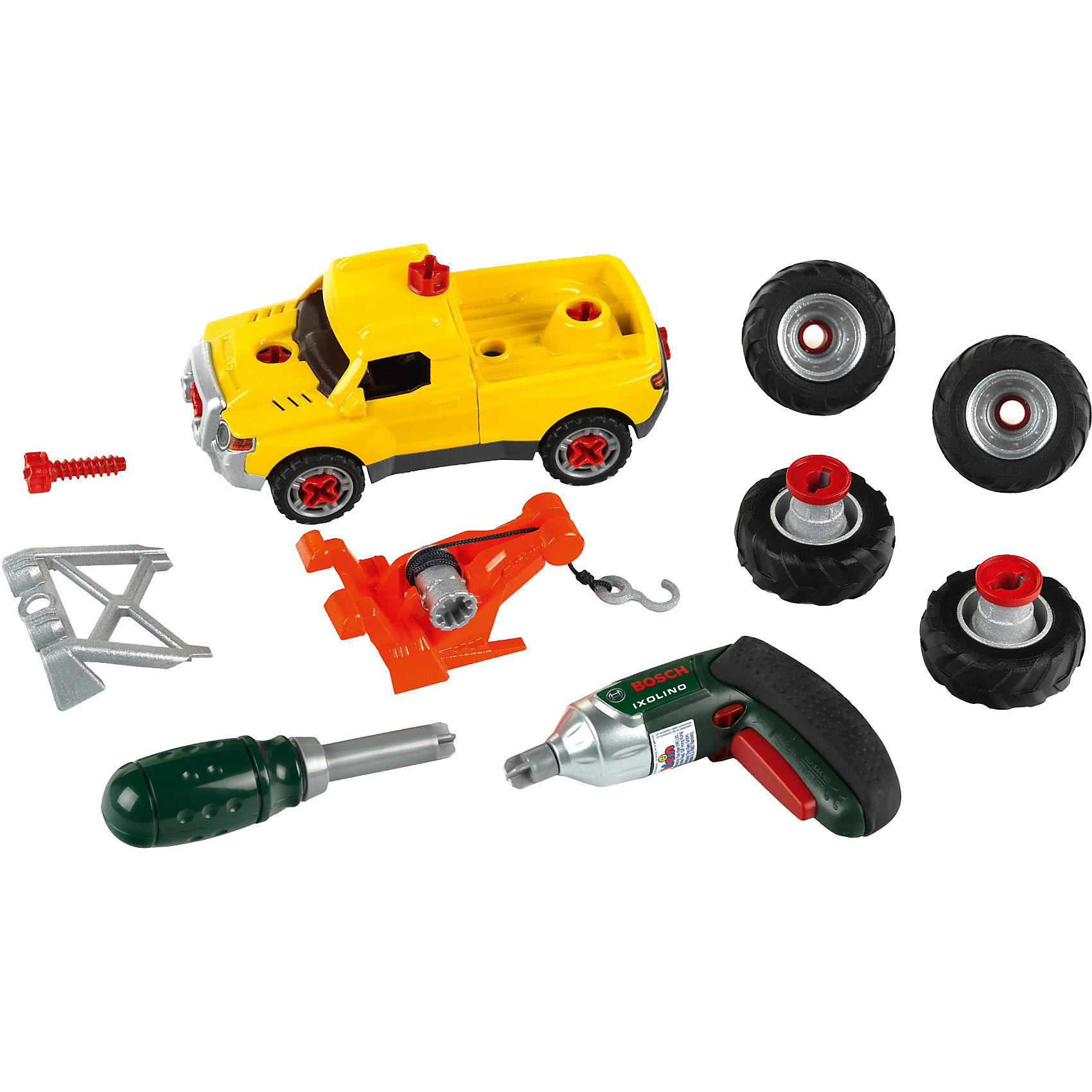 Игровой набор Собери машинку 3 в 1, KleinИгровой набор Собери машинку 3 в 1, Klein (Кляйн) доставит удовольствие каждому юному автолюбителю. Входящую в набор базовую машинку пикап можно трансформировать в мощный джип с большими колесами или в погрузчик, оборудованный крюком и электролебедкой с тросом. В комплекте Вы найдете все необходимые детали и инструменты для тюнинга: шуруповерт, отвертку, дополнительные колеса и аксессуары. Игрушка развивает мелкую моторику рук, навыки конструирования, целеустремленность, внимание, логическое мышление и воображение.<br><br>Дополнительная информация:<br><br>- В комплекте: разборная машинка, детали для тюнинга, 4 сменных колеса, отвертка, шуруповерт с крутящейся насадкой.<br>- Требуются батарейки для шуруповерта: 2 х AAA (в комплект не входят).<br>- Материал: пластик.<br>- Размер упаковки: 40 x 32 x 8  см. <br>- Вес: 0,6 кг.<br><br>Игровой набор Собери машинку 3 в 1, Klein, можно купить в нашем интернет-магазине.<br><br>Ширина мм: 398<br>Глубина мм: 319<br>Высота мм: 86<br>Вес г: 990<br>Возраст от месяцев: 36<br>Возраст до месяцев: 96<br>Пол: Мужской<br>Возраст: Детский<br>SKU: 3604191