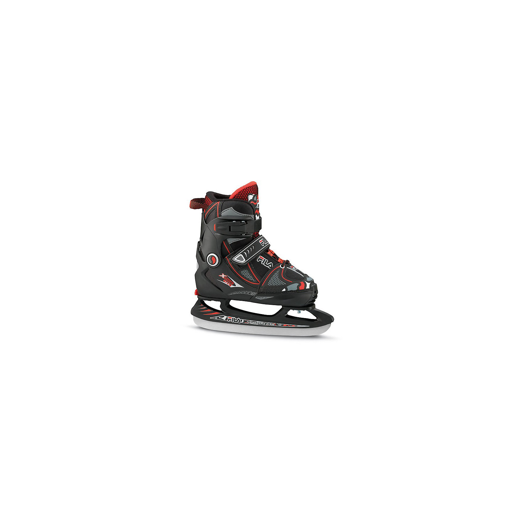 Ледовые коньки X-One Ice, чёрный/ красный, FILAКоньки<br>Ледовые коньки Primo Ice FILA (ФИЛА)  - больше, чем просто катание.<br><br>Компания Fila известна как производитель высококачественных  изделий для летних и зимних видов спорта, фитнеса и отдыха и  имеет многолетний опыт разработки и производства спортивного инвентаря.<br>Эти ледовые коньки для мальчиков имеют ботинки из полимерных материалов с текстильной подкладкой внутри, сохраняющей ноги в тепле.<br>Коньки раздвигаются на четыре полных размера при помощи запатентованного механизма.<br>Коньки застегиваются на ноге при помощи бакли, липучки и шнурков.<br><br>Дополнительная информация:<br><br>- состав 10% пвх, 35% нейлон, 45% полиэстер, 5% сталь, 5% сталь<br>- лезвие из нержавеющей стали 53-55HRC, толщина 3,55 мм.<br><br>Ледовые коньки X-One Ice G, чёрный/ розовый, FILA можно купить в нашем магазине.<br><br>Ширина мм: 448<br>Глубина мм: 330<br>Высота мм: 137<br>Вес г: 2398<br>Цвет: черный<br>Возраст от месяцев: 96<br>Возраст до месяцев: 1200<br>Пол: Мужской<br>Возраст: Детский<br>Размер: 38-41,35-38,32-35<br>SKU: 3604488