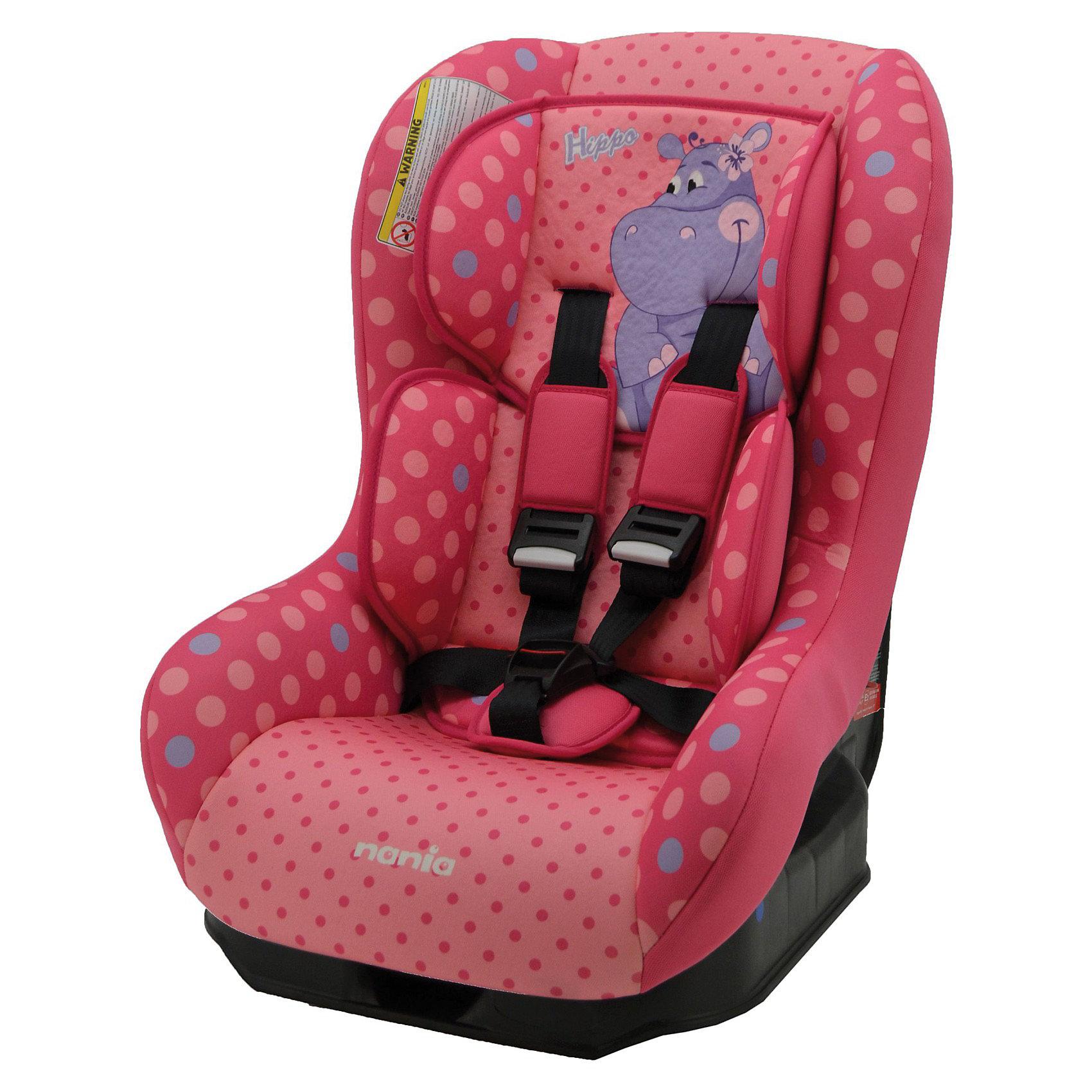 Автокресло Nania Driver, 0-18 кг, (hippo)Группа 0+, 1 (До 18 кг)<br>Автокресло Driver от Nania - комфортная надежная модель, которая сделает поездку Вашего ребенка приятной и безопасной. Сиденье кресла с мягким вкладышем под спину и подголовником имеет удобную анатомическую форму, что обеспечивает комфорт во время длительных поездок. В комплект входят 2 дополнительные подушки. Наклон спинки можно регулировать в 5 положениях, от вертикально сидячего до полулежа. Кресло оснащено регулируемыми 5-точечными ремнями безопасности с 3-мя уровнями регулировки по высоте  и мягкими плечевыми накладками.<br><br>Усиленная боковая защита SP - Side Protection убережёт ребёнка от серьезных травм. Автокресло устанавливается как на переднем так и на заднем сиденье автомобиля с помощью штатных ремней безопасности. Для детей более 9 кг. кресло следует устанавливать только на заднем сиденье. <br><br>Кресло изготовлено из высококачественных материалов, тканевые чехлы снимаются для чистки или стирки. Рассчитано на детей с рождения до 3-4 лет, весом 0-18 кг.<br><br>Дополнительная информация:<br><br>- Цвет: hippo(розовый/рисунок).<br>- Материал: 100% полиэстер, пластик.<br>- Внешние размеры автокресла: 54 х 45 х 61см.<br>- Внутренние размеры: 31 х 31см.<br>- Высота спинки: 55 см.<br>- Вес: 5,7 кг.<br><br>Автокресло Driver Nania можно купить в нашем интернет-магазине.<br><br>Ширина мм: 460<br>Глубина мм: 520<br>Высота мм: 600<br>Вес г: 12490<br>Возраст от месяцев: 0<br>Возраст до месяцев: 36<br>Пол: Унисекс<br>Возраст: Детский<br>SKU: 3607060