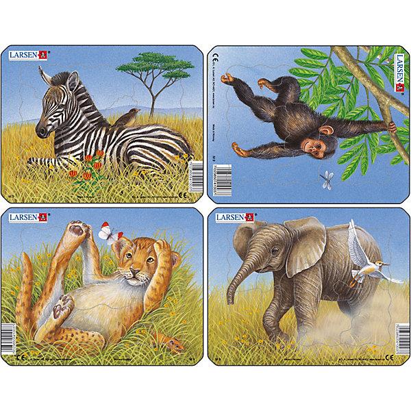 Пазл Лев , слон , обезьяна, зебра, 9 деталей, LarsenПазлы для малышей<br>Пазл Лев , слон , обезьяна, зебра, 9 деталей, Larsen (Ларсен) – это четыре красочных пазла с разноформатными деталями для малышей.<br>В наборе из четырех красочных пазлов каждый пазл состоит из девяти крупных элементов. Центральный элемент имеет вырубку силуэта слоника или тигренка. Пазл имеет подложку, на которой выдавлены контуры деталей, что облегчит процесс сборки. Детали пазла изготовлены из высококачественного плотного трехслойного картона. Они не деформируются, хорошо сцепляются друг с другом, не расслаиваются. Рисунок не стирается. Занятия по сборке пазла развивают образное и логическое мышление, пространственное воображение, память, внимание, усидчивость, координацию движений и мелкую моторику.<br><br>Дополнительная информация:<br><br>- Количество деталей: 36 (4 пазла по 9 деталей)<br>- Размер собранной картинки: 18,3 х 14,3 см.<br>- Материал: плотный трехслойный картон<br><br>Пазл Лев , слон , обезьяна, зебра, 9 деталей, Larsen (Ларсен) можно купить в нашем интернет-магазине.<br>Ширина мм: 191; Глубина мм: 146; Высота мм: 28; Вес г: 328; Возраст от месяцев: 36; Возраст до месяцев: 60; Пол: Унисекс; Возраст: Детский; Количество деталей: 9; SKU: 3608265;