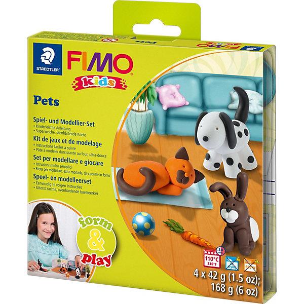 Набор для создания украшений Домашний любимецГлина для лепки<br>Серия Form&amp;play представляет собой сочетание моделирование и игры. Основная концепция включает простые и хорошо понятные формы, инструкции в соответствии с уровнем сложности и полимерную глину, разработанную специально для детей. Игровая фоновая сцена, изображенная на внутренней стороне упаковки, не только доставит дополнительное удовольствие от игры, но и вдохновит на новые идеи моделирования.<br>FIMO kids form&amp;play Домашний любимец - содержит: 4 блока по 42 г (белый, оранжевый, коричневый, черный), стек для моделирования, пошаговые инструкции, игровая фоновая сцена. Уровень сложности 1.<br>Ширина мм: 159; Глубина мм: 159; Высота мм: 25; Вес г: 261; Возраст от месяцев: 60; Возраст до месяцев: 96; Пол: Унисекс; Возраст: Детский; SKU: 3608623;