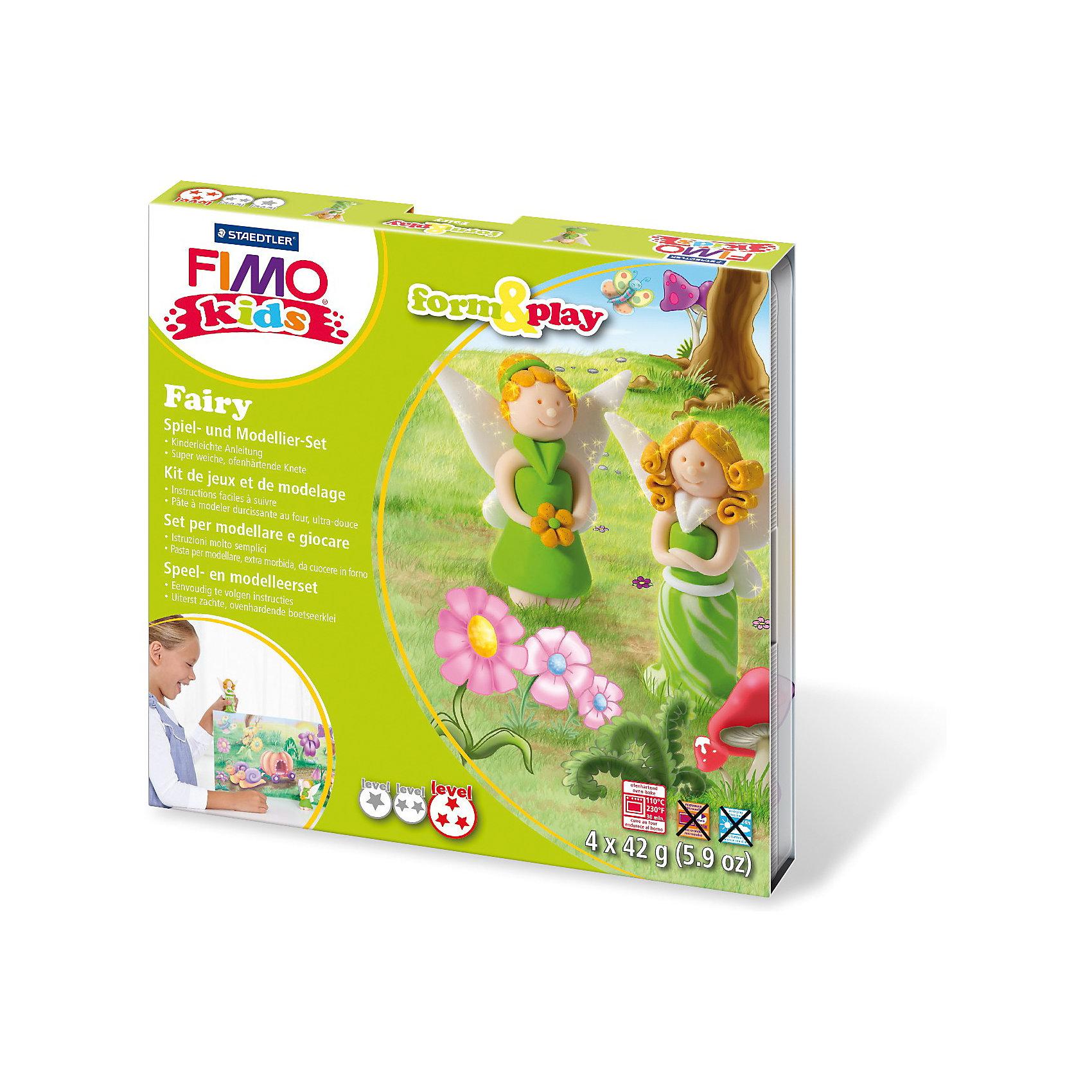 Набор для создания украшений ФеяНаборы полимерной глины<br>Серия Form&amp;play представляет собой сочетание моделирование и игры. Основная концепция включает простые и хорошо понятные формы, инструкции в соответствии с уровнем сложности и полимерную глину, разработанную специально для детей. Игровая фоновая сцена, изображенная на внутренней стороне упаковки, не только доставит дополнительное удовольствие от игры, но и вдохновит на новые идеи моделирования.<br>FIMO kids form&amp;play детский набор Фея - содержит: 4 блока по 42 г (светло-зеленый, телесный, блестящий белый, блестящий золотой), стек для моделирования, пошаговые инструкции, игровая фоновая сцена. Уровень сложности 3.<br><br>Ширина мм: 159<br>Глубина мм: 154<br>Высота мм: 22<br>Вес г: 251<br>Возраст от месяцев: 60<br>Возраст до месяцев: 96<br>Пол: Унисекс<br>Возраст: Детский<br>SKU: 3608625