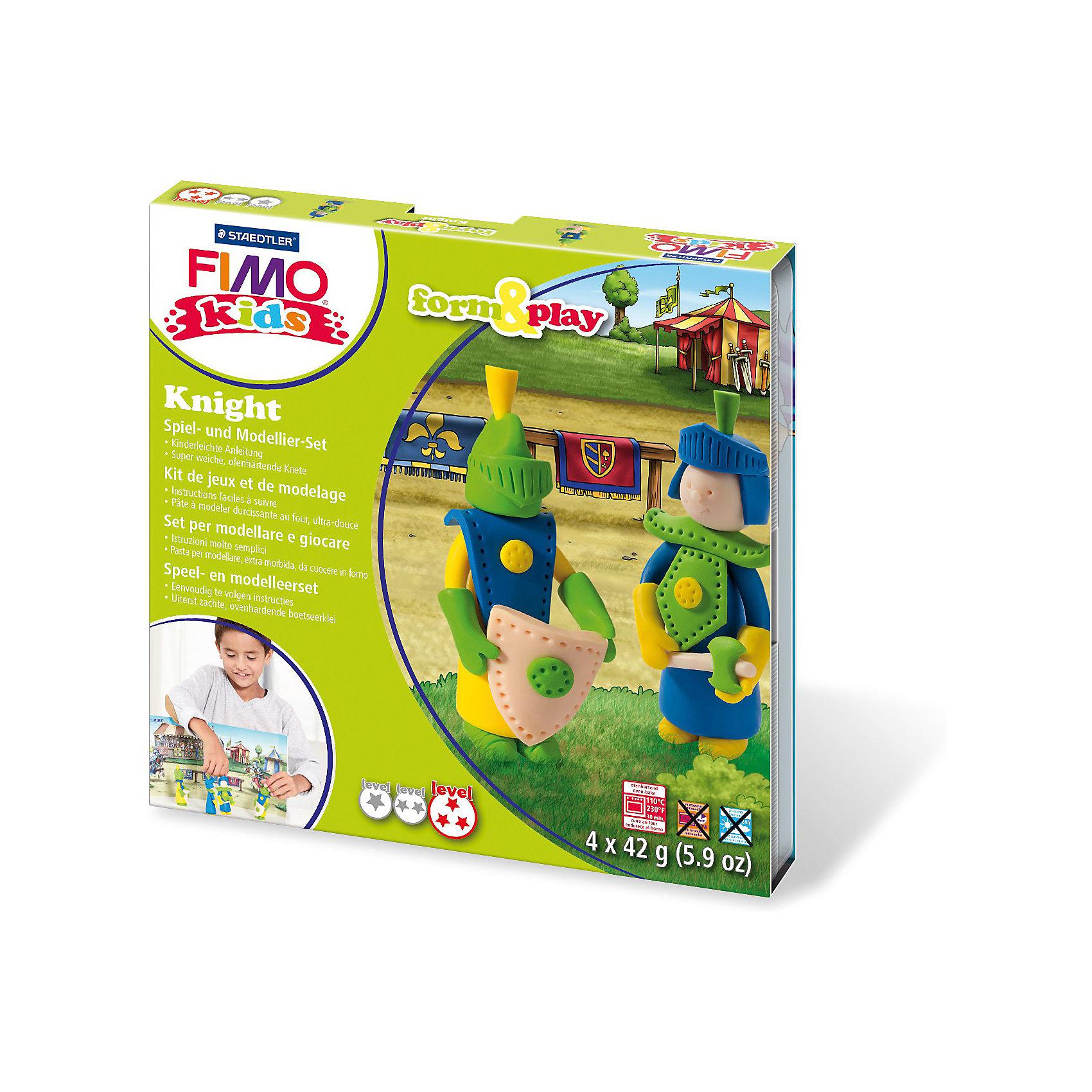 Набор для создания украшений РыцарьНаборы полимерной глины<br>Серия Form&amp;play представляет собой сочетание моделирование и игры. Основная концепция включает простые и хорошо понятные формы, инструкции в соответствии с уровнем сложности и полимерную глину, разработанную специально для детей. Игровая фоновая сцена, изображенная на внутренней стороне упаковки, не только доставит дополнительное удовольствие от игры, но и вдохновит на новые идеи моделирования.&#13;<br>FIMO kids form&amp;play детский набор Рыцарь - содержит: 4 блока по 42 г (желтый, синий, светло-зеленый, телесный), стек для моделирования, пошаговые инструкции, игровая фоновая сцена. Уровень сложности 3.<br><br>Ширина мм: 156<br>Глубина мм: 159<br>Высота мм: 25<br>Вес г: 256<br>Возраст от месяцев: 60<br>Возраст до месяцев: 96<br>Пол: Унисекс<br>Возраст: Детский<br>SKU: 3608626
