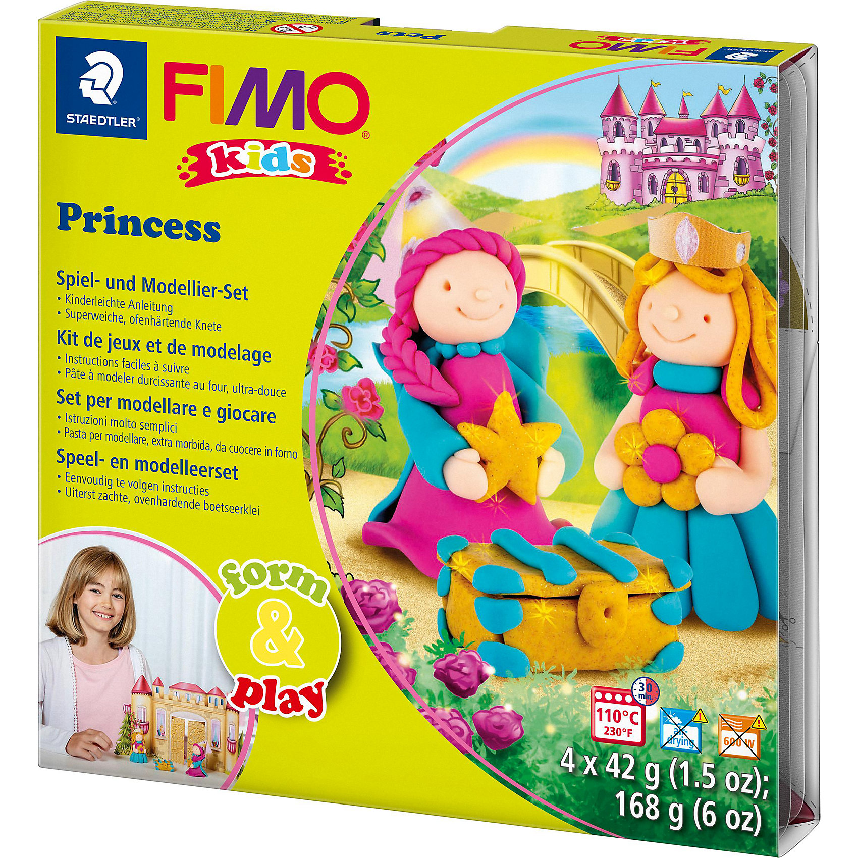 Набор для создания украшений ПринцессаЛепка<br>Серия Form&amp;play представляет собой сочетание моделирование и игры. Основная концепция включает простые и хорошо понятные формы, инструкции в соответствии с уровнем сложности и полимерную глину, разработанную специально для детей. Игровая фоновая сцена, изображенная на внутренней стороне упаковки, не только доставит дополнительное удовольствие от игры, но и вдохновит на новые идеи моделирования.<br>FIMO kids form&amp;play детский набор Принцесса - содержит: 4 блока по 42 г (нежно-розовый, розовый, телесный, блестящий белый), стек для моделирования, пошаговые инструкции, игровая фоновая сцена. Уровень сложности 3.<br><br>Ширина мм: 156<br>Глубина мм: 159<br>Высота мм: 27<br>Вес г: 262<br>Возраст от месяцев: 60<br>Возраст до месяцев: 96<br>Пол: Унисекс<br>Возраст: Детский<br>SKU: 3608627