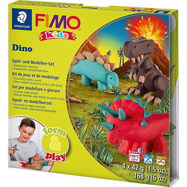 Набор для создания украшений ДиноНаборы полимерной глины<br>Серия Form&amp;play представляет собой сочетание моделирование и игры. Основная концепция включает простые и хорошо понятные формы, инструкции в соответствии с уровнем сложности и полимерную глину, разработанную специально для детей. Игровая фоновая сцена, изображенная на внутренней стороне упаковки, не только доставит дополнительное удовольствие от игры, но и вдохновит на новые идеи моделирования.<br>FIMO kids form&amp;play детский набор Дино - содержит: 4 блока по 42 г (белый, коричневый, телесный, черный), стек для моделирования, пошаговые инструкции, игровая фоновая сцена. Уровень сложности 2.<br><br>Ширина мм: 158<br>Глубина мм: 157<br>Высота мм: 25<br>Вес г: 261<br>Возраст от месяцев: 60<br>Возраст до месяцев: 96<br>Пол: Унисекс<br>Возраст: Детский<br>SKU: 3608628