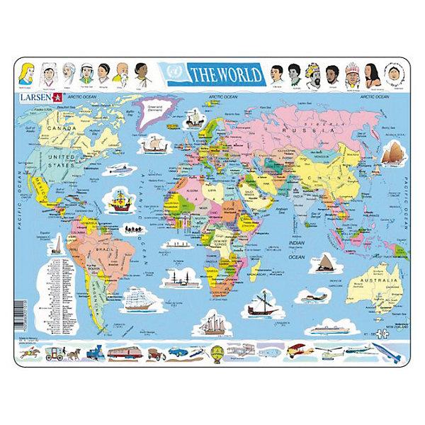 Пазл Земля,  Larsen, 107 деталейПазлы для детей постарше<br>Пазл «Земля», Larsen (Ларсен), 107 деталей – пазл с картой мира, который познакомит ребенка с политической картой земли, народностями, населяющими нашу планету, а также различными средствами передвижения.<br><br>Пазл выполнен из высококачественного трехслойного картона, снабжен специальной подложкой, благодаря которой пазл легко собирать. Различные размеры и формы элементов способствуют развитию мелкой моторики ребенка.<br><br>Дополнительная информация: <br><br>- количество деталей: 107 шт.<br>- размер: 36,5х28,5 см<br>- вес: 300 г<br>- материал: плотный картон<br><br>Пазл «Земля», Larsen (Ларсен), 107 деталей – прекрасный выбор заботливых родителей, с которым ребенок проведет время интересно и с пользой.<br><br>Пазл «Земля», Larsen (Ларсен), 107 деталей можно купить в нашем магазине.<br><br>Ширина мм: 360<br>Глубина мм: 360<br>Высота мм: 280<br>Вес г: 100<br>Возраст от месяцев: 60<br>Возраст до месяцев: 96<br>Пол: Унисекс<br>Возраст: Детский<br>Количество деталей: 107<br>SKU: 3610569