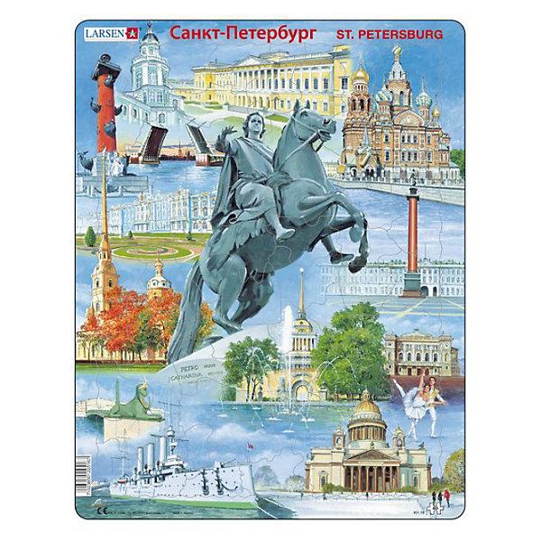 Пазл Санкт-Петербург,  Larsen, 60 деталейПазлы для малышей<br>Пазл «Санкт-Петербург», Larsen (Ларсен), 60 деталей – очень красивый пазл, который познакомит ребенка с достопримечательностями города Санкт-Петербург.<br><br>В процессе сборки пазла ребенок познакомится с такими достопримечательностями Санкт-Петербурга как «Медный всадник», разводные мосты, Исаакиевский собор, крейсер «Аврора» и многие другие. Пазл выполнен из высококачественного трехслойного картона, снабжен специальной подложкой, благодаря которой пазл легко собирать. Различные размеры и формы элементов способствуют развитию мелкой моторики ребенка.<br><br>Дополнительная информация:<br><br>- количество деталей: 60 шт.<br>- размер: 36,5х28,5 см<br>- вес: 300 г<br>- материал: плотный картон<br><br>Пазл «Санкт-Петербург», Larsen (Ларсен), 60 деталей - прекрасный выбор заботливых родителей, с которым ребенок проведет время интересно и с пользой.<br><br>Пазл «Санкт-Петербург», Larsen (Ларсен), 60 деталей можно купить в нашем магазине.<br>Ширина мм: 360; Глубина мм: 360; Высота мм: 280; Вес г: 100; Возраст от месяцев: 72; Возраст до месяцев: 120; Пол: Унисекс; Возраст: Детский; Количество деталей: 60; SKU: 3610571;