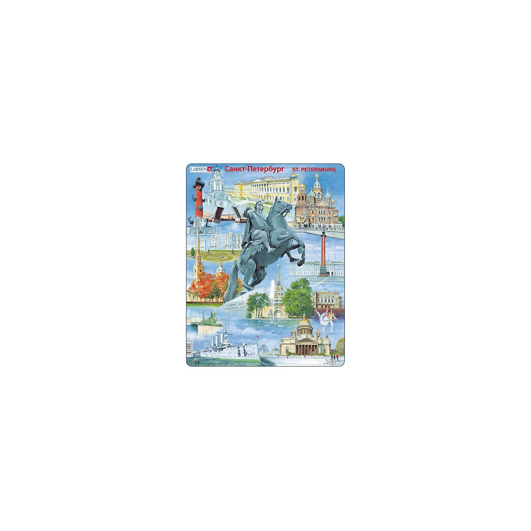 Пазл Санкт-Петербург,  Larsen, 60 деталейПазлы для малышей<br>Пазл «Санкт-Петербург», Larsen (Ларсен), 60 деталей – очень красивый пазл, который познакомит ребенка с достопримечательностями города Санкт-Петербург.<br><br>В процессе сборки пазла ребенок познакомится с такими достопримечательностями Санкт-Петербурга как «Медный всадник», разводные мосты, Исаакиевский собор, крейсер «Аврора» и многие другие. Пазл выполнен из высококачественного трехслойного картона, снабжен специальной подложкой, благодаря которой пазл легко собирать. Различные размеры и формы элементов способствуют развитию мелкой моторики ребенка.<br><br>Дополнительная информация:<br><br>- количество деталей: 60 шт.<br>- размер: 36,5х28,5 см<br>- вес: 300 г<br>- материал: плотный картон<br><br>Пазл «Санкт-Петербург», Larsen (Ларсен), 60 деталей - прекрасный выбор заботливых родителей, с которым ребенок проведет время интересно и с пользой.<br><br>Пазл «Санкт-Петербург», Larsen (Ларсен), 60 деталей можно купить в нашем магазине.<br><br>Ширина мм: 360<br>Глубина мм: 360<br>Высота мм: 280<br>Вес г: 100<br>Возраст от месяцев: 72<br>Возраст до месяцев: 120<br>Пол: Унисекс<br>Возраст: Детский<br>Количество деталей: 60<br>SKU: 3610571