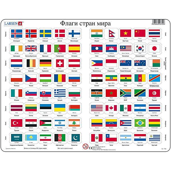 Пазл Флаги,  Larsen, 80 деталейПазлы для малышей<br>Пазл «Флаги», », Larsen (Ларсен), 80 деталей – обучающий пазл, который познакомит ребенка с политической географией.<br><br>По левой и правой стороне пазла нанесены названия континентов, а по горизонтали названия стран. Задача ребенка определить принадлежность флага его стране. Пазл выполнен из высококачественного трехслойного картона, снабжен специальной подложкой, благодаря которой пазл легко собирать. Различные размеры и формы элементов способствуют развитию мелкой моторики ребенка.<br><br>Дополнительная информация:<br><br>- количество деталей: 80 шт.<br>- размер: 36,5х28,5 см<br>- вес: 300 г<br>- материал: плотный картон<br><br>Пазл «Флаги», Larsen (Ларсен), 80 деталей - прекрасный выбор заботливых родителей, с которым ребенок проведет время интересно и с пользой.<br><br>Пазл «Флаги», Larsen (Ларсен), 80 деталей можно купить в нашем магазине.<br>Ширина мм: 360; Глубина мм: 360; Высота мм: 280; Вес г: 100; Возраст от месяцев: 72; Возраст до месяцев: 120; Пол: Унисекс; Возраст: Детский; Количество деталей: 80; SKU: 3610572;