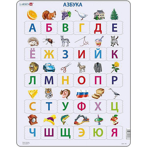Пазл Алфавит,  Larsen, 26 деталейПазлы для малышей<br>Пазл «Алфавит», Larsen (Ларсен), 26 деталей – познакомит с буквами и их последовательностью в алфавите.<br><br>Ребенку необходимо расставить буквы в правильном порядке. Если ответ выбран неверно, то элемент не подойдет. Пазл выполнен из высококачественного трехслойного картона, снабжен специальной подложкой, благодаря которой пазл легко собирать. Различные размеры и формы элементов способствуют развитию мелкой моторики ребенка.<br><br>Дополнительная информация:<br><br>- количество деталей: 26 шт.<br>- размер: 36,5х28,5 см<br>- вес: 300 г<br>- материал: плотный картон<br><br>Пазл «Алфавит», Larsen (Ларсен), 26 деталей - отличная игра для ребенка, с помощью которой он в игровой форме выучит алфавит.<br><br>Пазл «Алфавит», Larsen (Ларсен), 26 деталей можно купить в нашем магазине.<br><br>Ширина мм: 360<br>Глубина мм: 360<br>Высота мм: 280<br>Вес г: 100<br>Возраст от месяцев: 48<br>Возраст до месяцев: 72<br>Пол: Унисекс<br>Возраст: Детский<br>Количество деталей: 26<br>SKU: 3610573