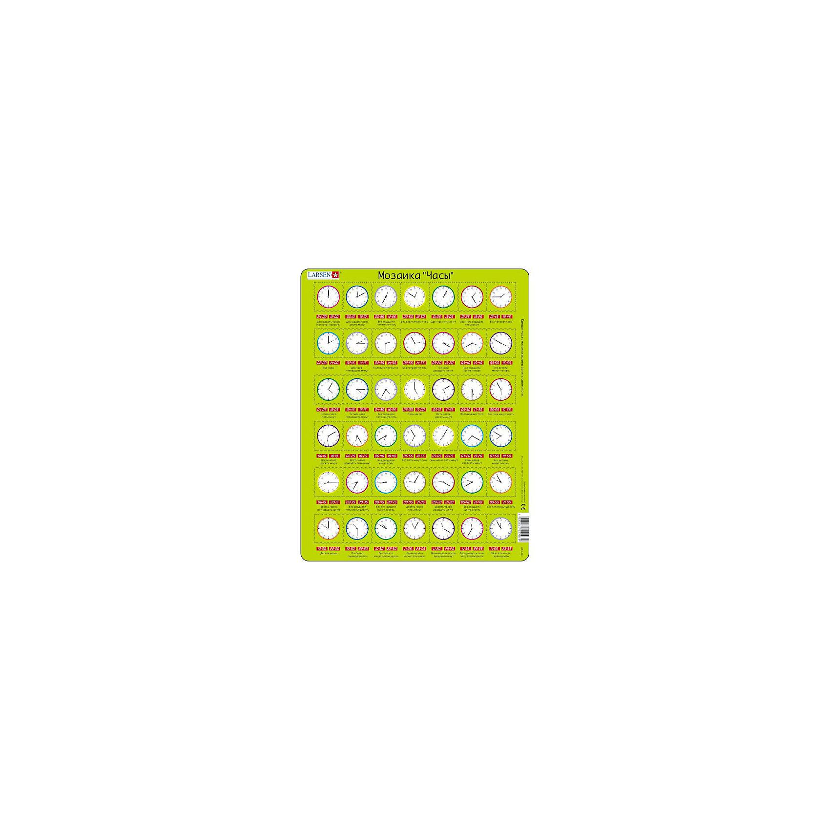 Пазл Часы,  Larsen, 42 деталиПазлы для малышей<br>Пазл «Часы», Larsen (Ларсен), 42 детали – развивающий пазл, который в игровой форме научит ребенка ориентироваться в часах.<br><br>На самом картоне изображено время цифрами как на электронных часах и написано произношение на русском языке. Ребенку необходимо подобрать соответствующее изображение циферблата часов со стрелками. Пазл выполнен из высококачественного трехслойного картона, снабжен специальной подложкой, благодаря которой пазл легко собирать. Различные размеры и формы элементов способствуют развитию мелкой моторики ребенка.<br><br>Дополнительная информация:<br><br>- количество деталей: 42 шт.<br>- размер: 36,5х28,5 см<br>- вес: 300 г<br>- материал: плотный картон<br><br>Пазл «Часы», Larsen (Ларсен), 42 детали – познавательная игра, с которой ребенок научится определять точное время.<br><br>Пазл «Часы», Larsen (Ларсен), 42 детали можно купить в нашем магазине.<br><br>Ширина мм: 360<br>Глубина мм: 360<br>Высота мм: 280<br>Вес г: 100<br>Возраст от месяцев: 48<br>Возраст до месяцев: 84<br>Пол: Унисекс<br>Возраст: Детский<br>Количество деталей: 42<br>SKU: 3610577