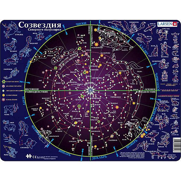 Пазл Созвездия,  Larsen, 70 деталейПазлы для малышей<br>Пазл Созвездия,  Larsen, 70 деталей в занимательной форме познакомит Вашего ребенка с основами астрономии. Пазл ярко и достоверно иллюстрирует часть звездного неба, видимого из Северного полушария Земли. В центре находится самая яркая Полярная звезда. На карте звездного неба звезды изображены условными обозначениями по следующей классификации: супергиганты, красные гиганты, звезды созвездий, самые яркие, ближайшие. Определяют их по яркости, степени удаленности, величине. Все созвездия представлены в двух видах, соединенных между собой: в центре круга - их положение на карте звездного неба, за пределами круга – их зодиакальное представление. Звезды, расположенные в центре круга, можно наблюдать на небе круглый год. Звезды, расположенные ближе к окраине круга можно видеть только в определенные месяцы года. За пределами круга указаны месяцы года, в течение которых созвездия будут видны на небе. В процессе сборки пазла, ребенок познакомится с такими понятиями как «эклиптика», «небесный экватор», «весеннее равноденствие», «осеннее равноденствие», «зимнее и летнее солнцестояние». Изготовлен пазл из плотного трехслойного картона, имеет специальную подложку и рамку, которые облегчают процесс сборки. Принцип сборки пазла заключается в использовании принципа совместимости изображений и контуров пазла. Если малыш не сможет совместить детали пазла по рисунку, он сделает это по контуру пазла, вставив его в подложку как вкладыш. Высокое качество материала и печати не допускают износа, расслаивания, деформации деталей и стирания рисунка. Многообразие форм и разные размеры деталей пазла развивают мелкую моторику пальцев. Занятия по сборке пазла развивают образное и логическое мышление, пространственное воображение, память, внимание, усидчивость, координацию движений.<br><br>Дополнительная информация:<br><br>- Количество элементов: 70 деталей<br>- Материал: плотный трехслойный картон<br>- Размер пазла: 36,5 x 28,5 см.<br><br>Па